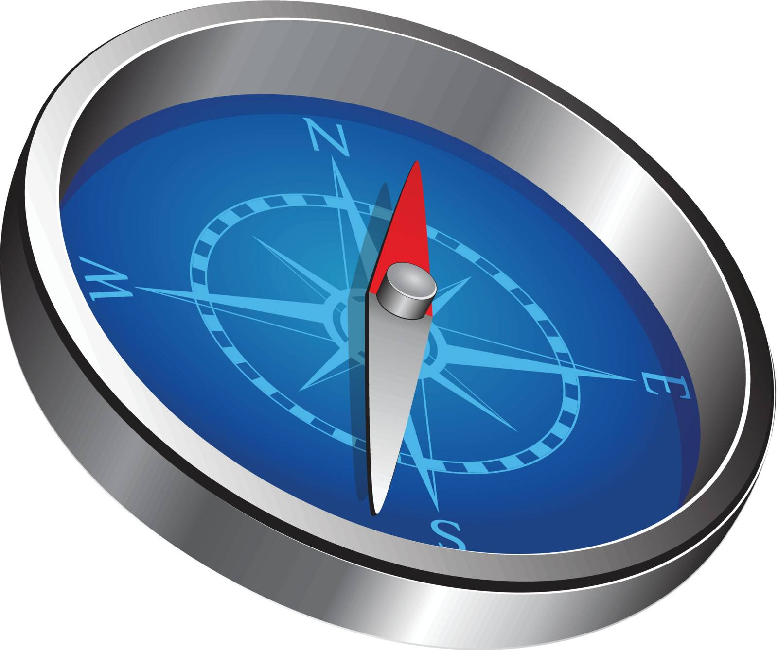 Magnetic navigation equipment - a compass. Windrose. Vector illustration.