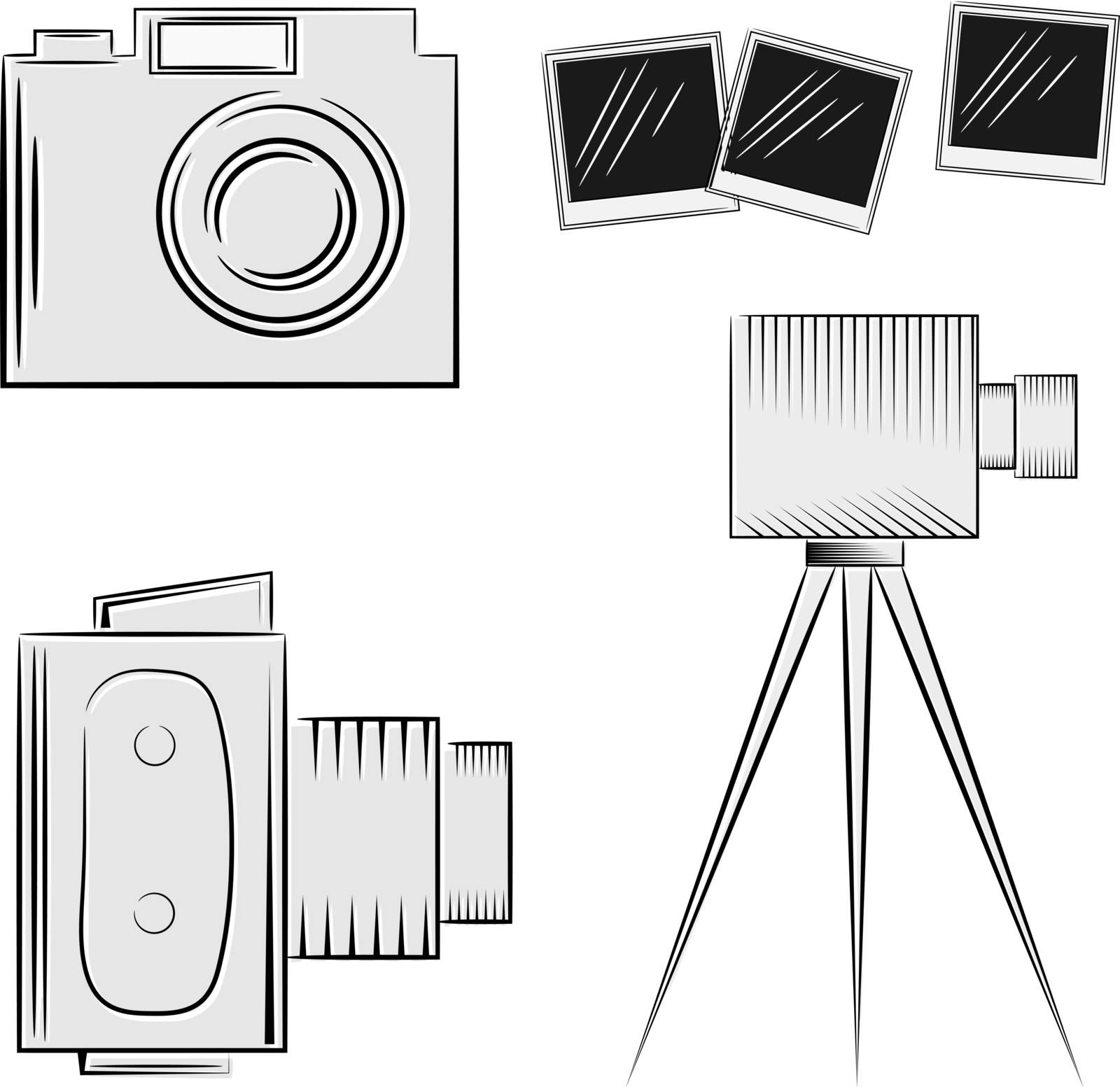 A set of cameras. eps10