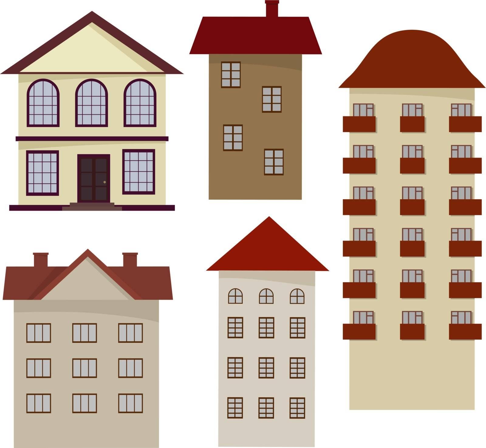 Set of cartoon houses. eps10