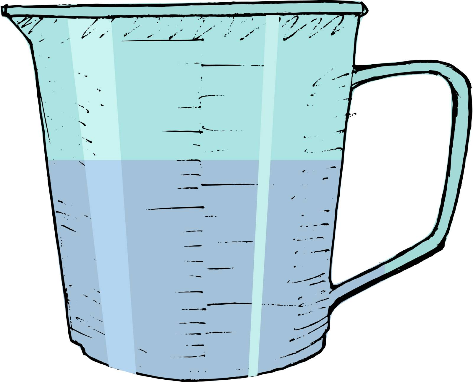 hand drawn, vector, sketch illustration of kitchen measuring cup