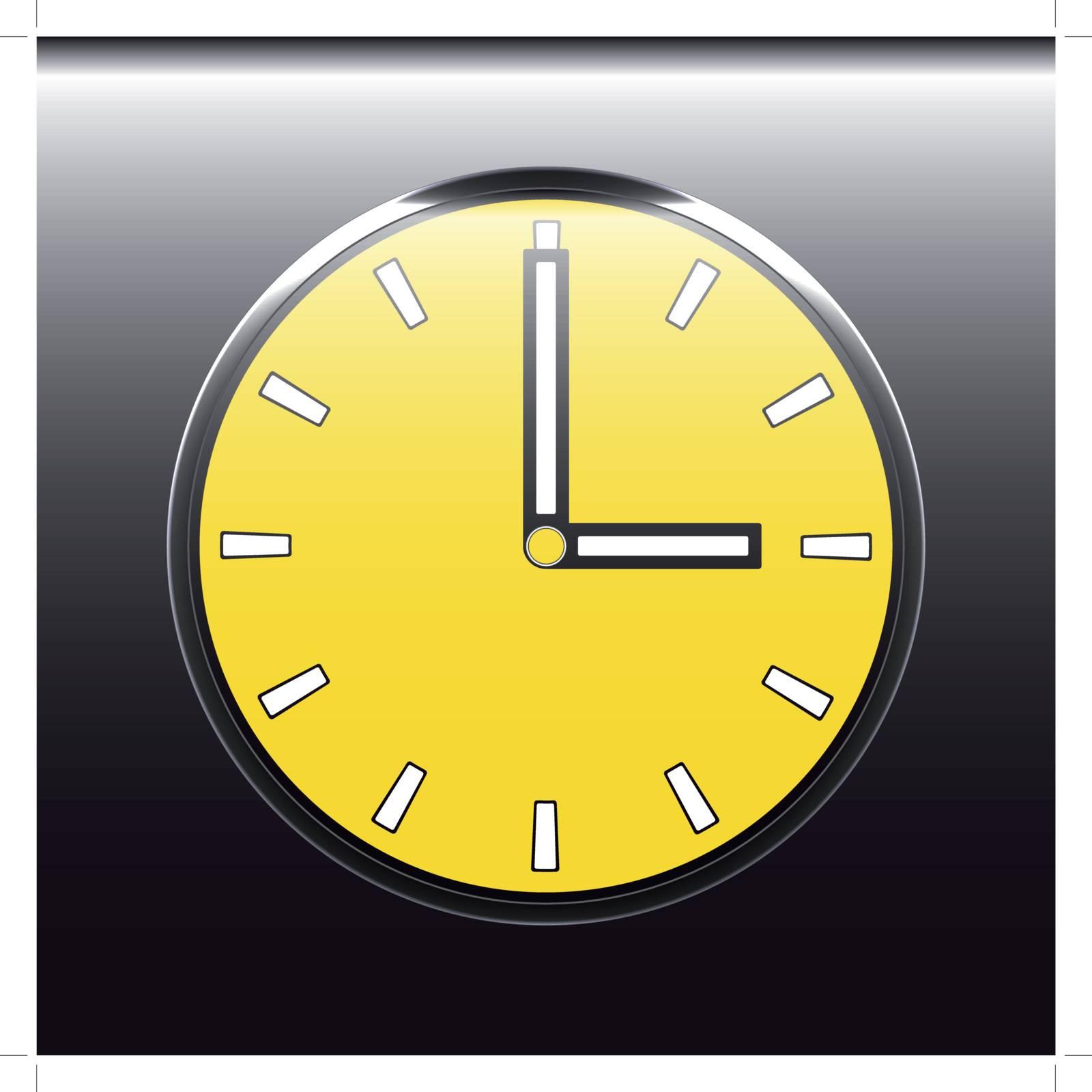 beautiful yellow clock round shape on a black background
