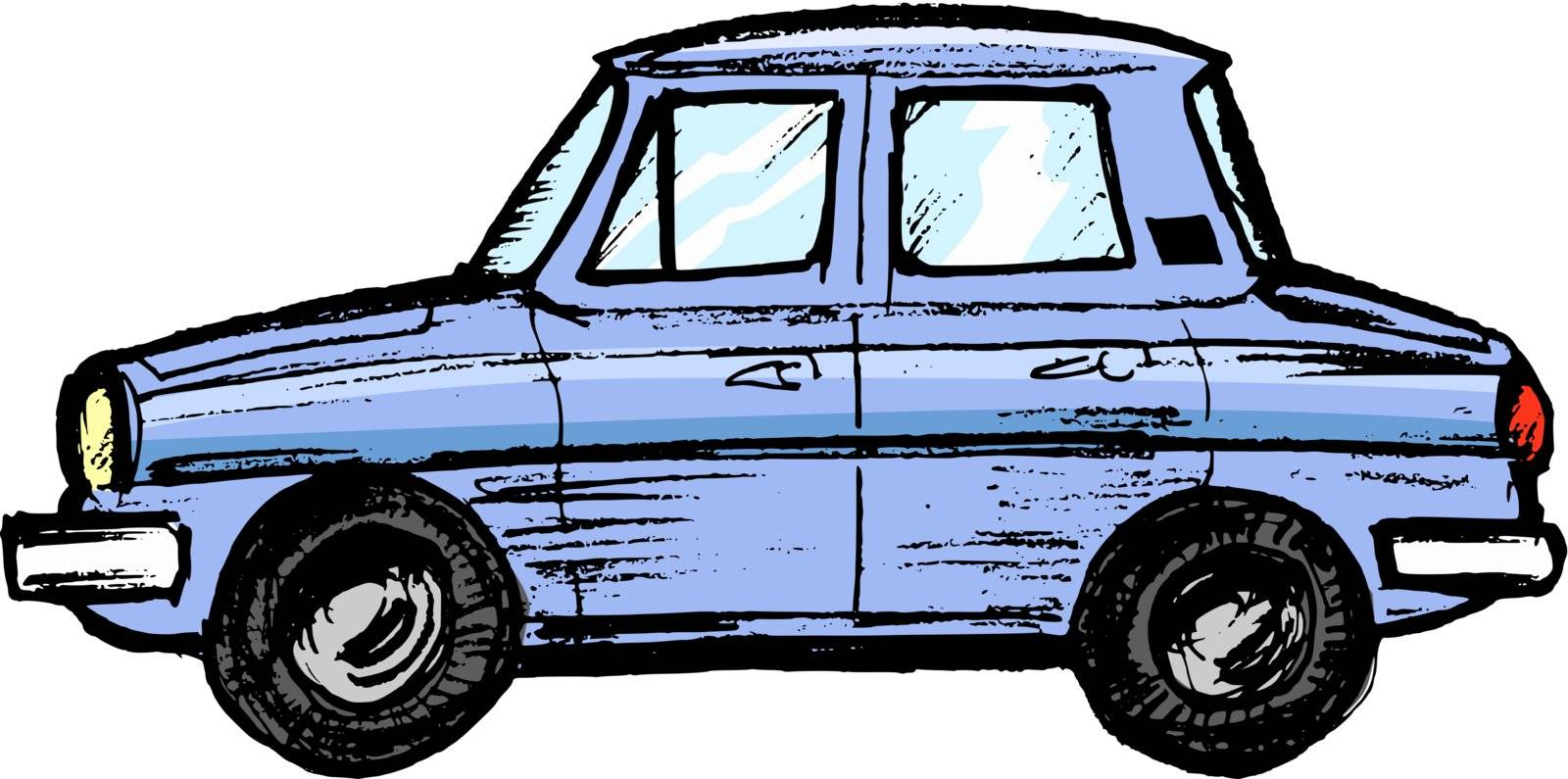 hand drawn, sketch, cartoon illustration of model of car