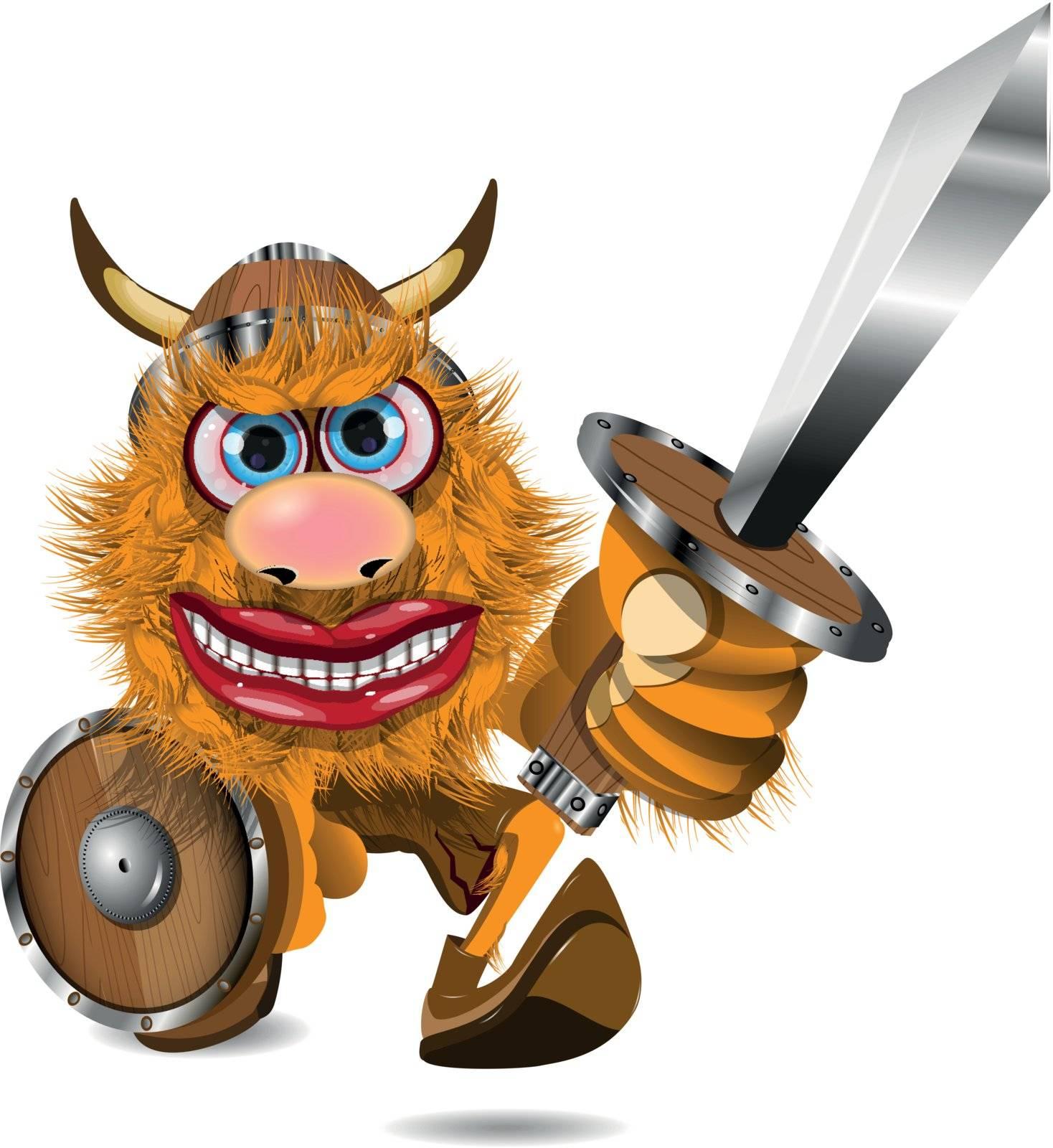 illustration redhead aggressive Viking sword with military