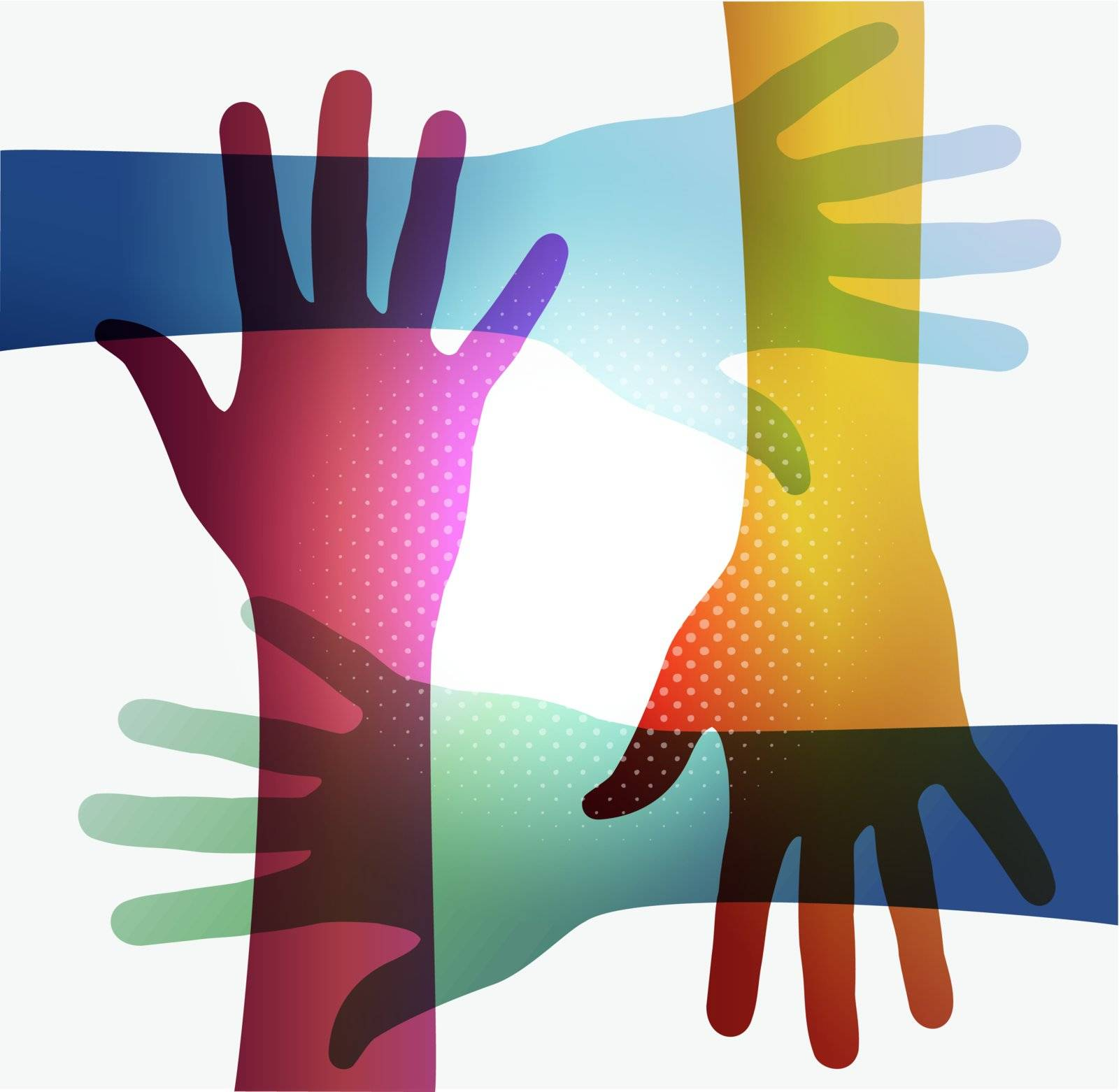 Diversity transparent hands on white background. EPS 10 vector illustration, cleanly built grouped and ordered in layers for easy editing.