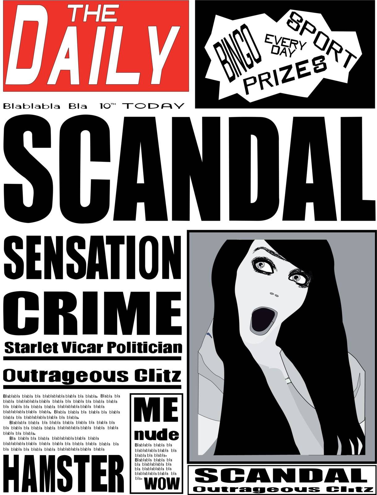 A typical daily fictitious newspaper with the red top, banner, typically in the UK