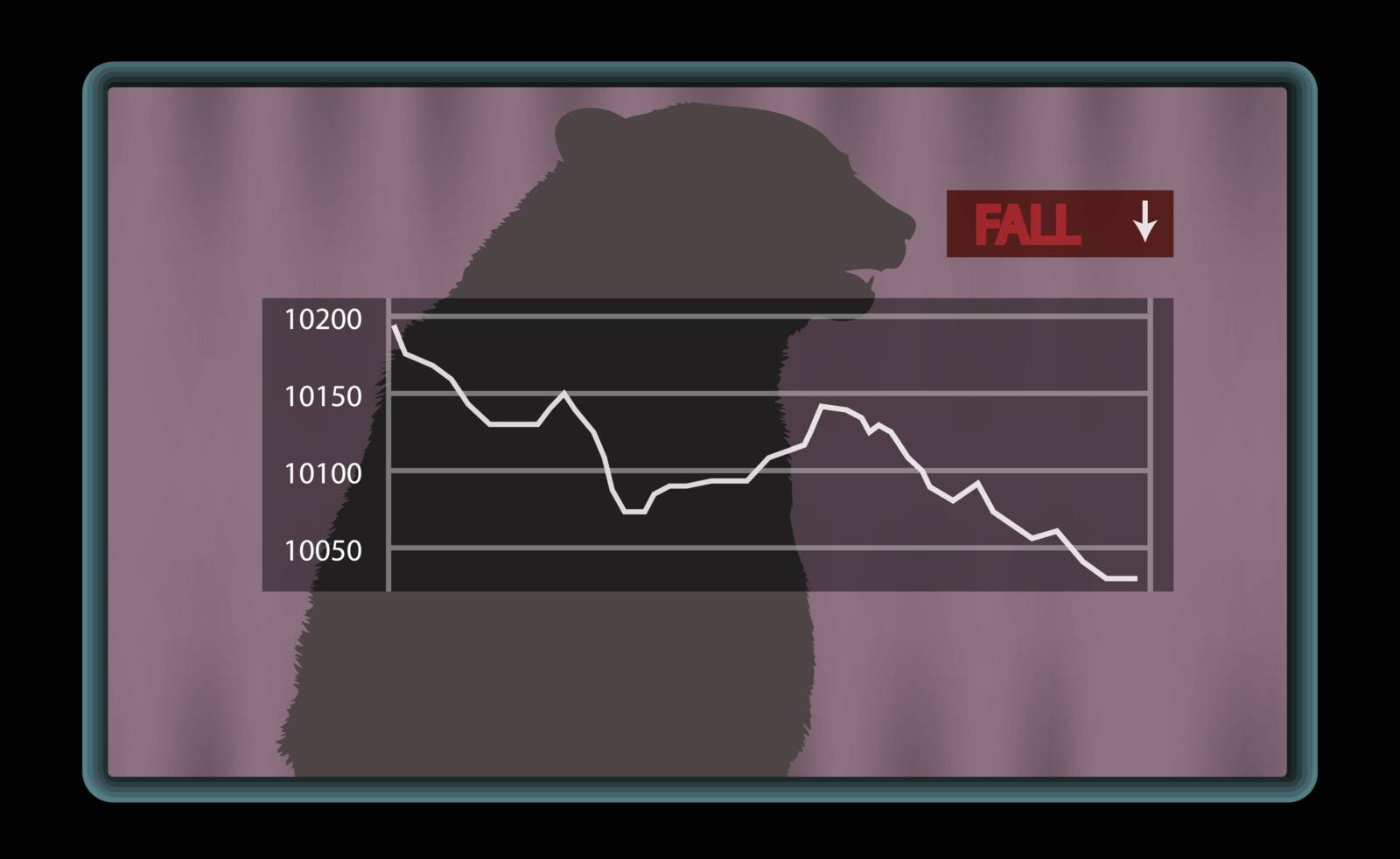 Stock chart at the stock exchange with red fall indicator