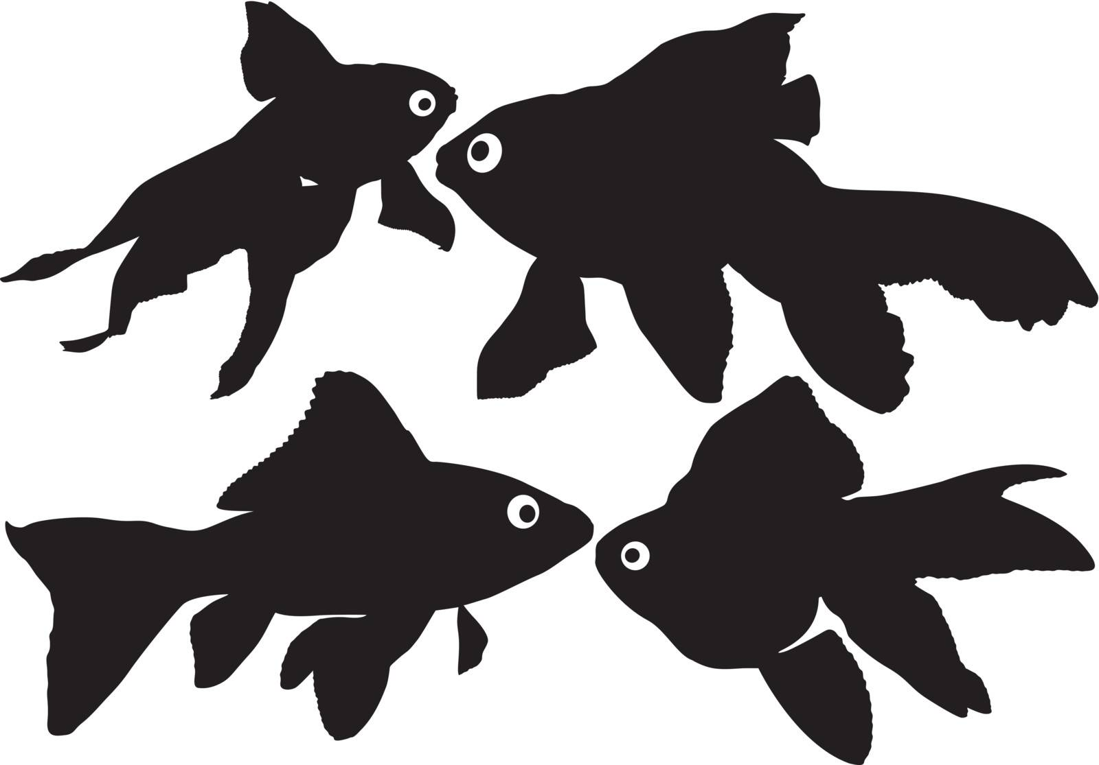Goldfish vector silhouettes by only4denn