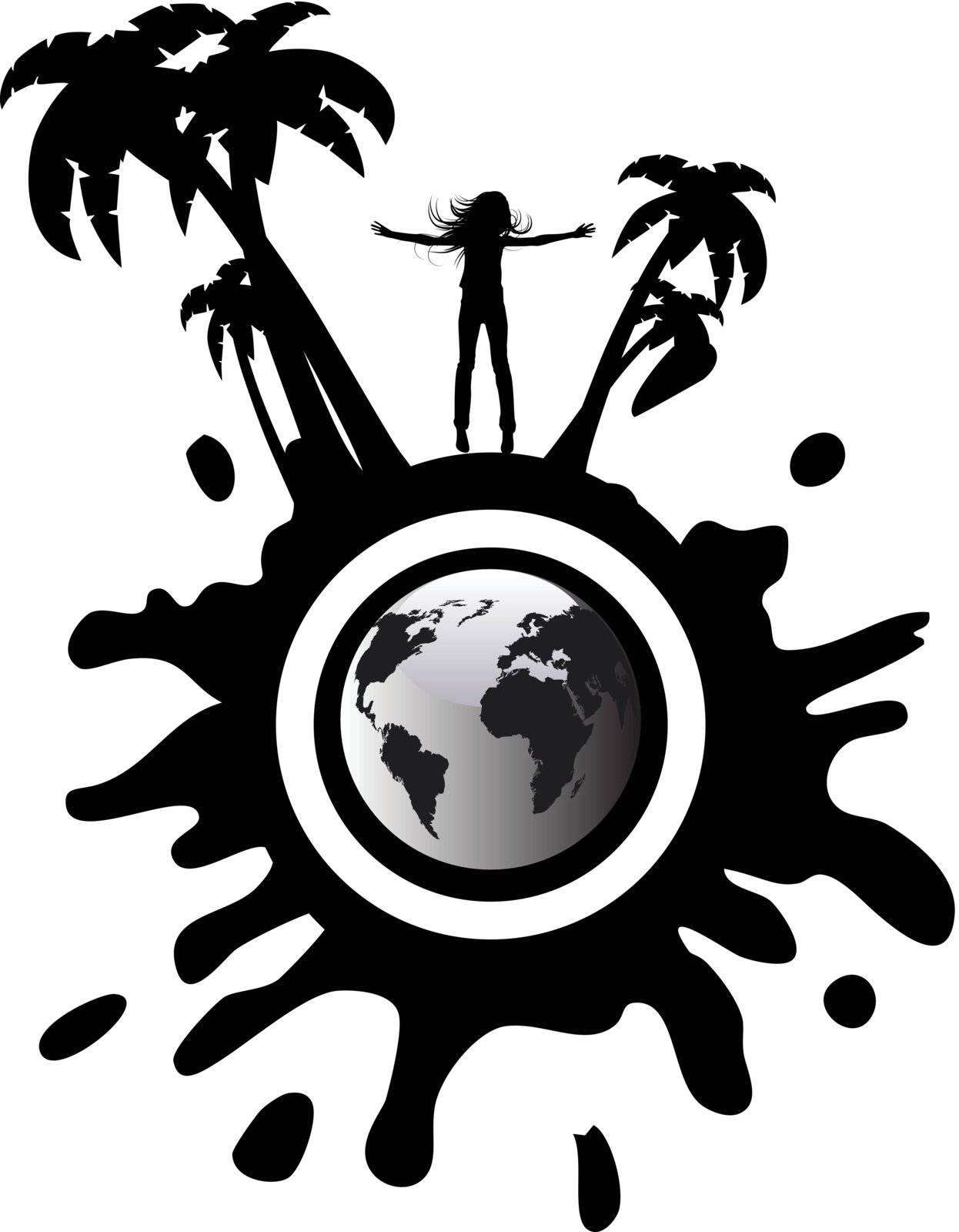 the vector silhouette girl on globe
