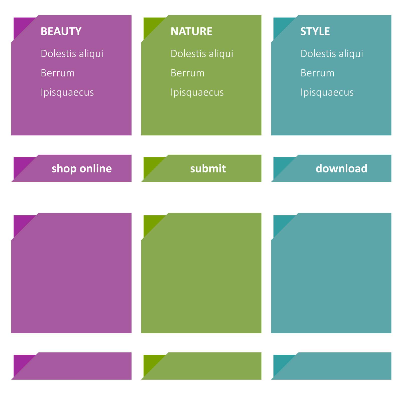 Set of elegant color templates and buttons.