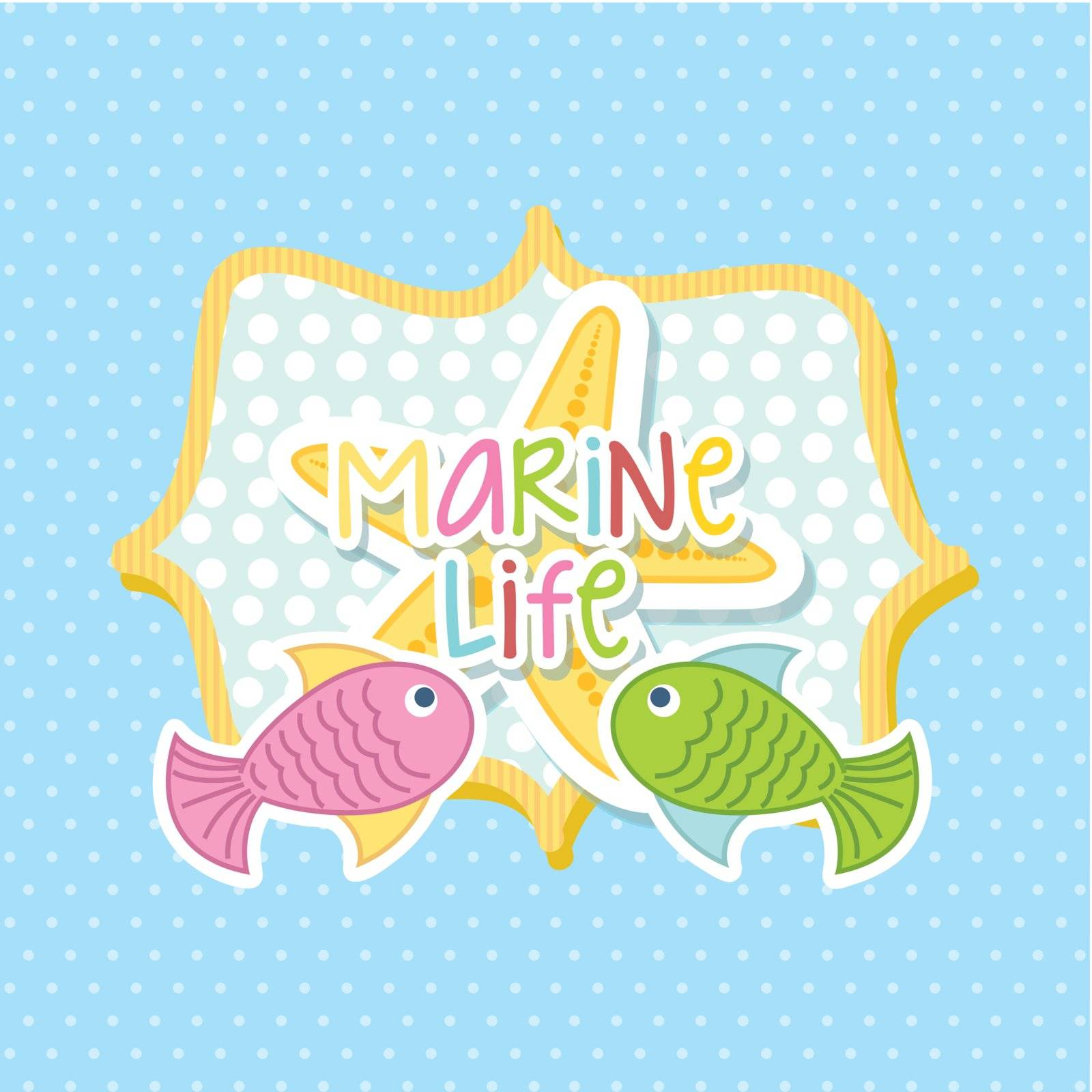 marine life with cute fishes over blue background. vector illustration