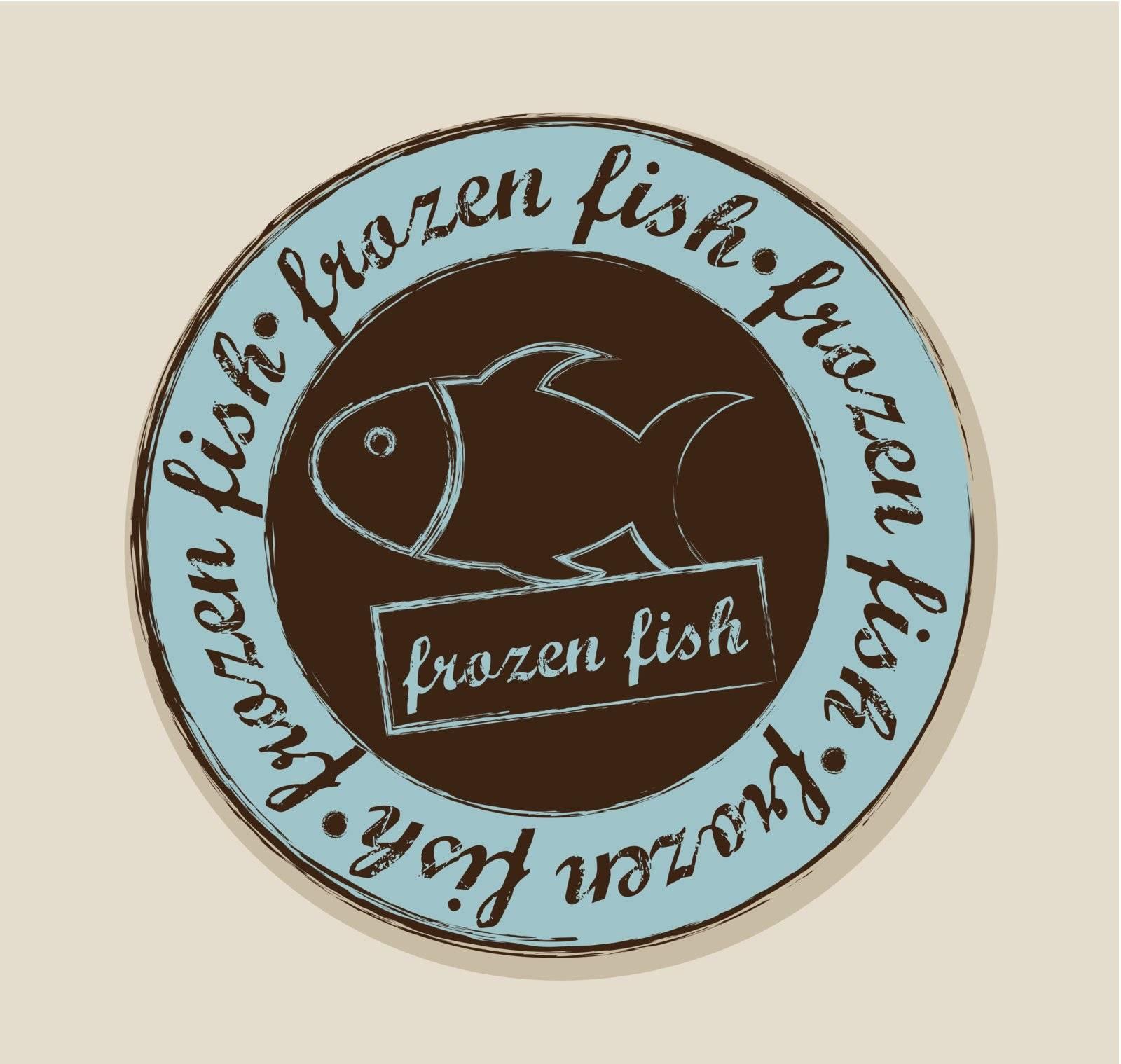 frozen fish label over beige background. vector illustration