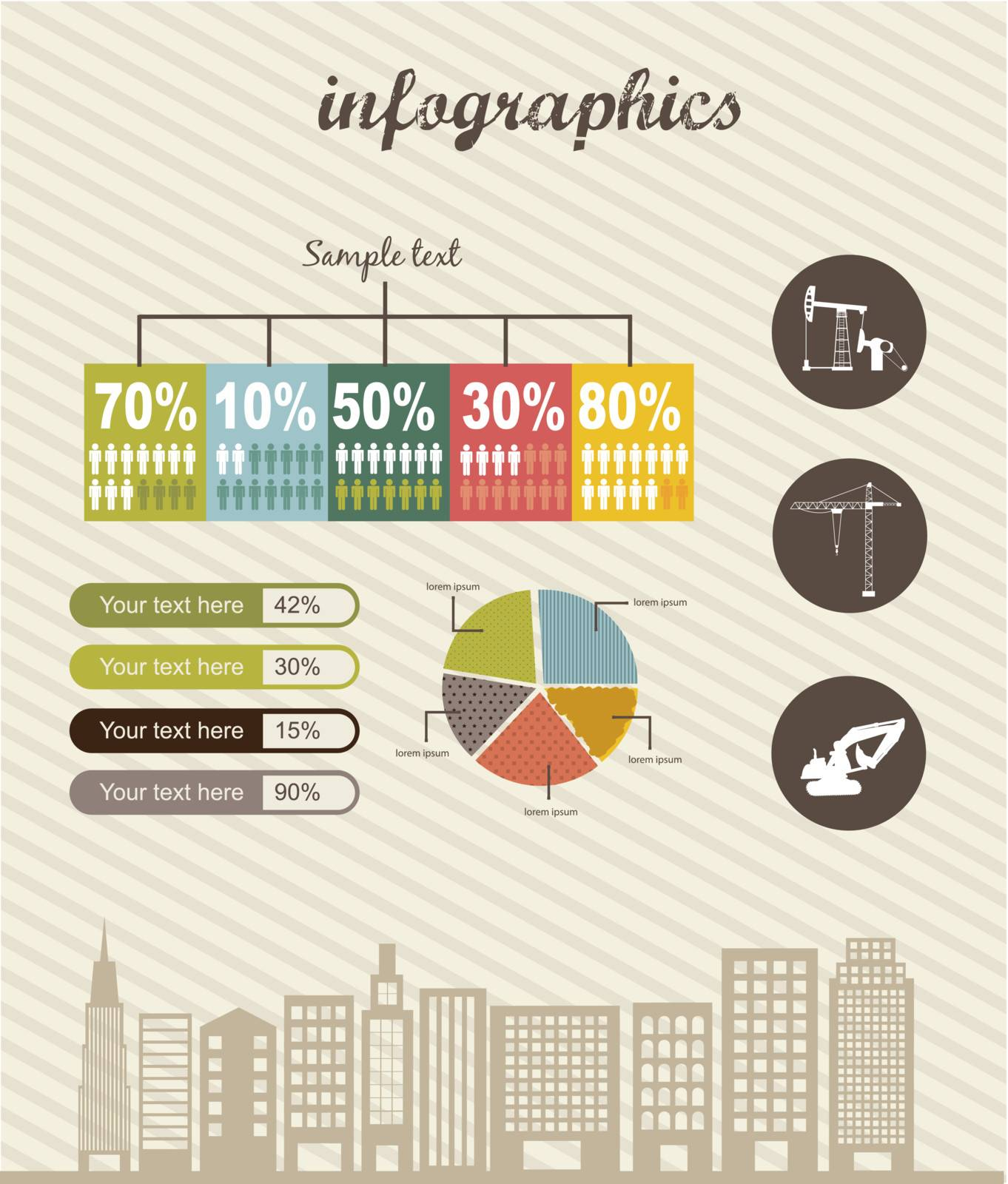 infographics with city, vintage style. vector illustration