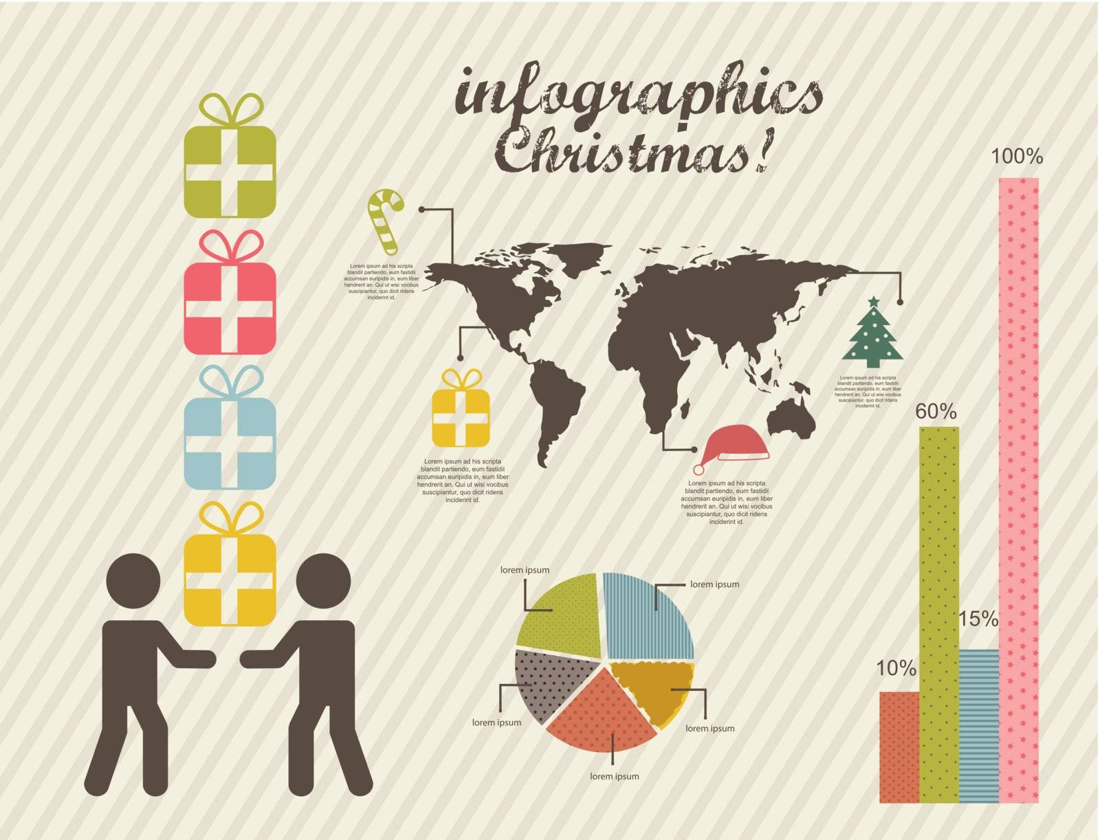 infographics of christmas, vintage style. vector illustration