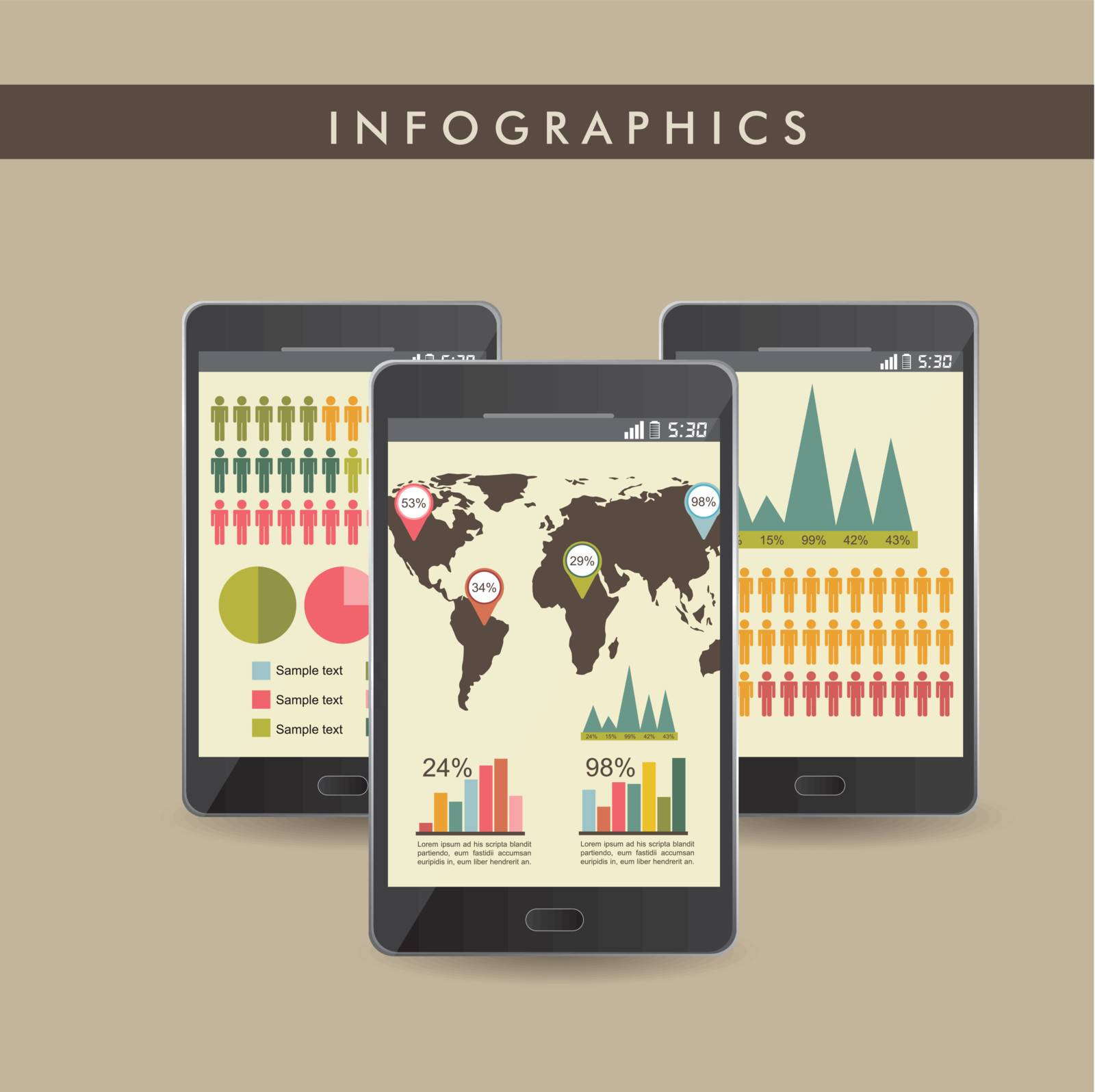 vintage infographics set with phones. vector illustration