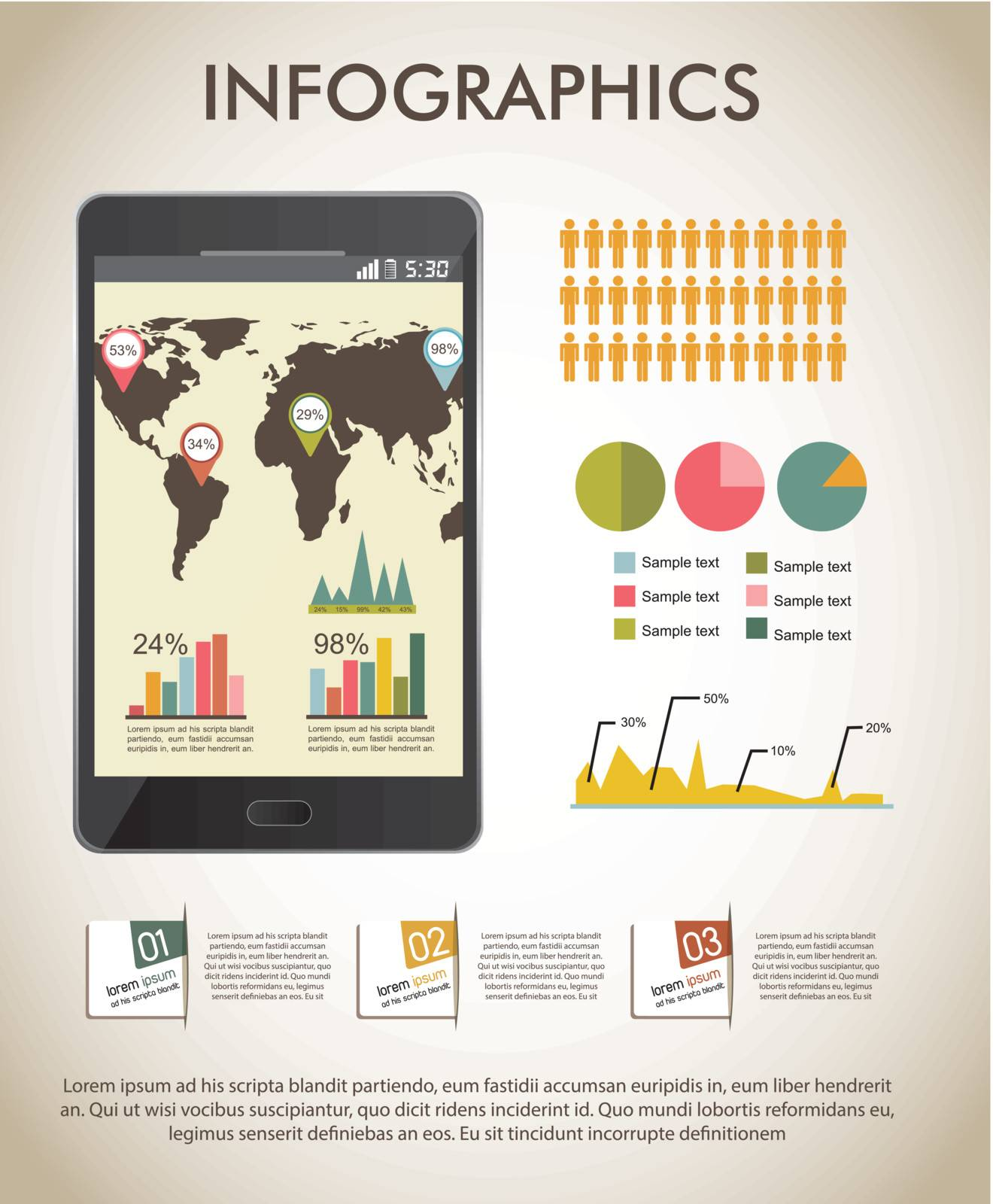vintage infographics set with map. vector illustration