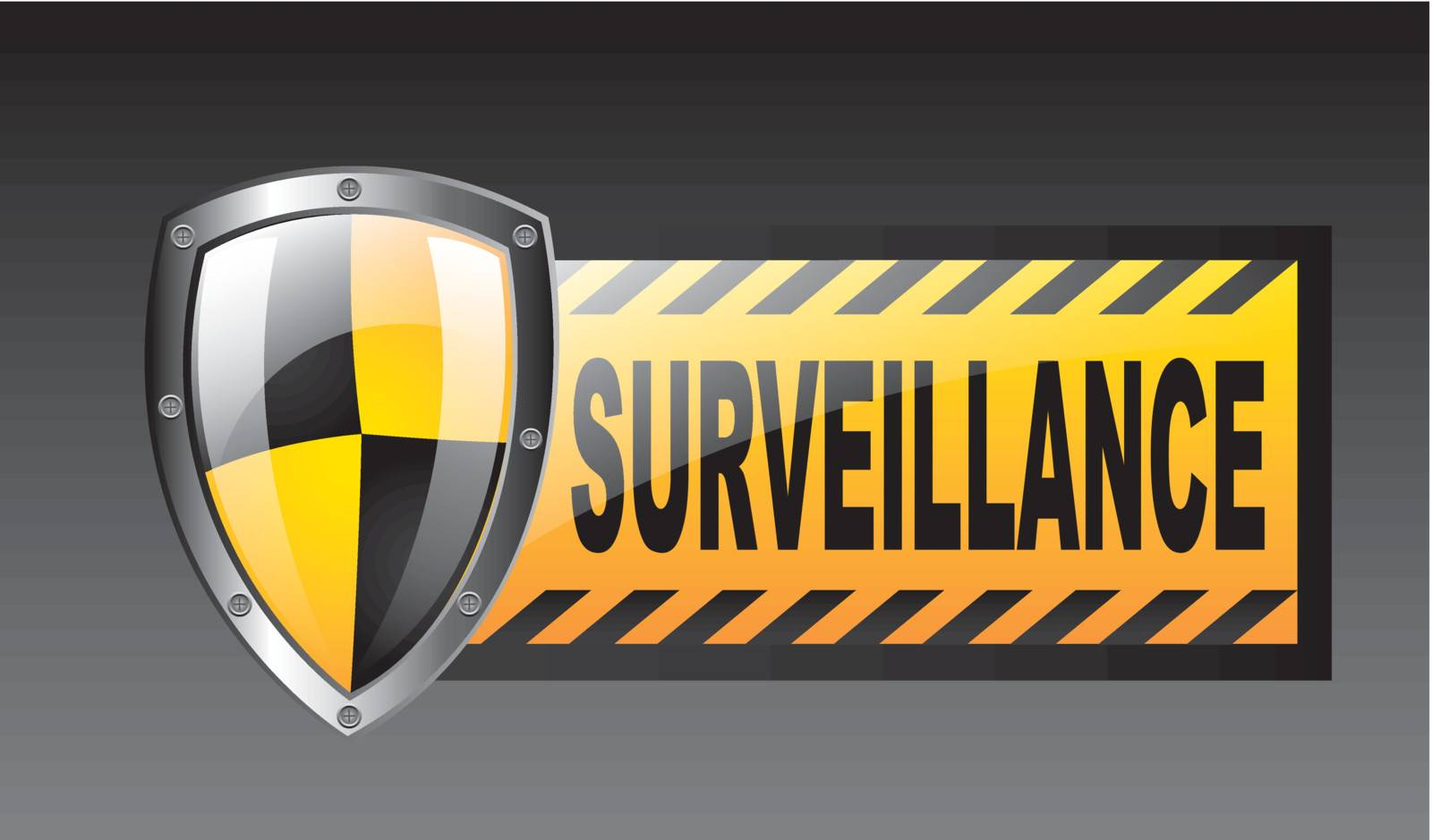 surveillance with protection shield over black background. vector
