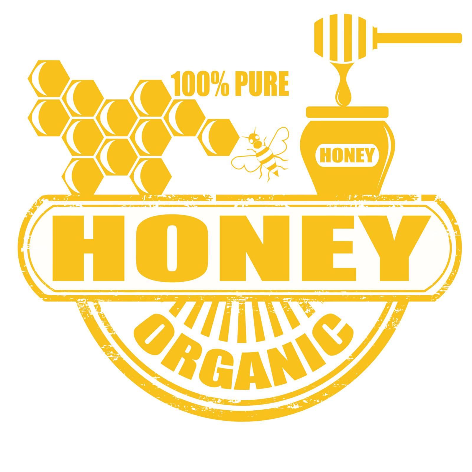 Honey grunge rubber stamp on white background, vector illustration