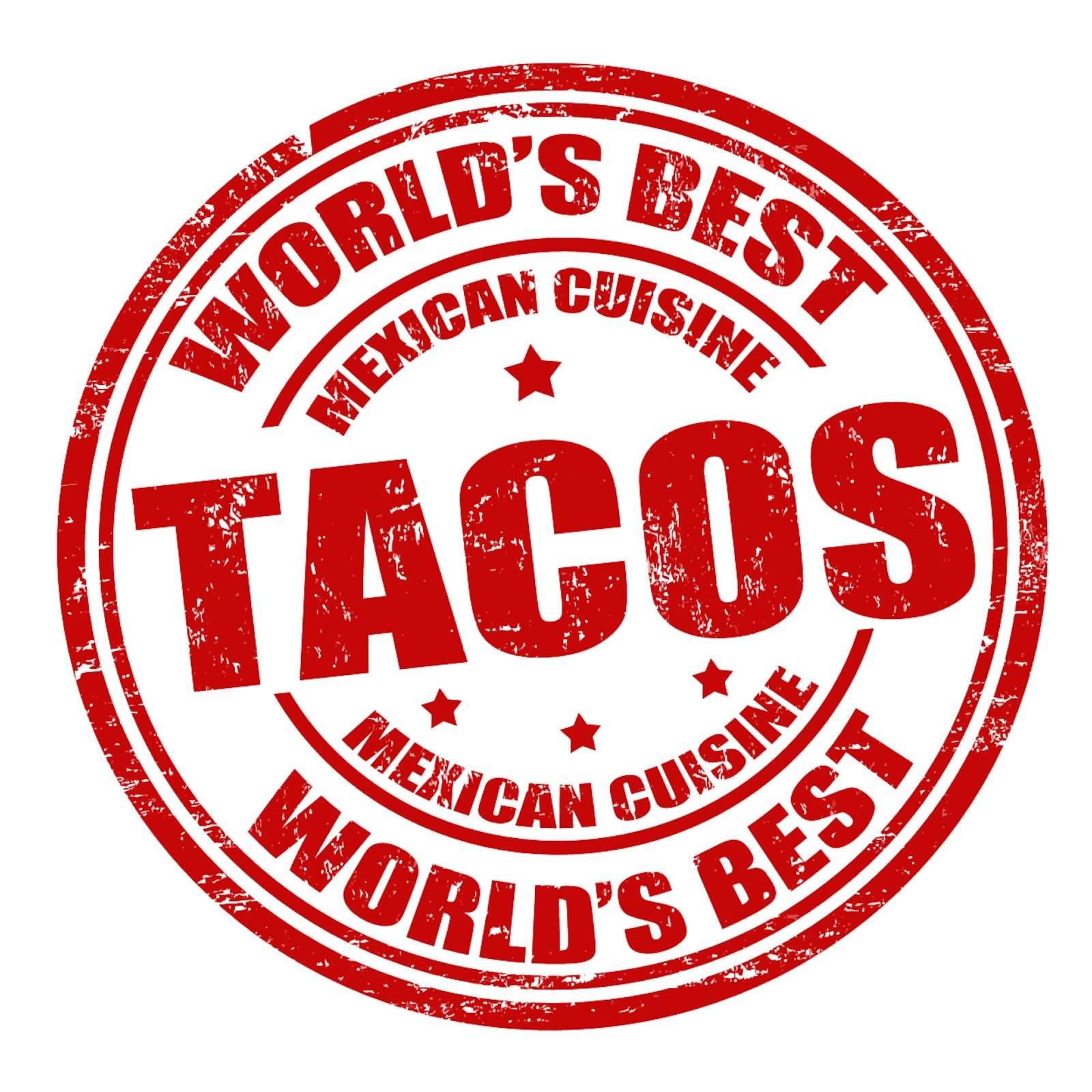 Tacos grunge rubber stamp on white background, vector illustration