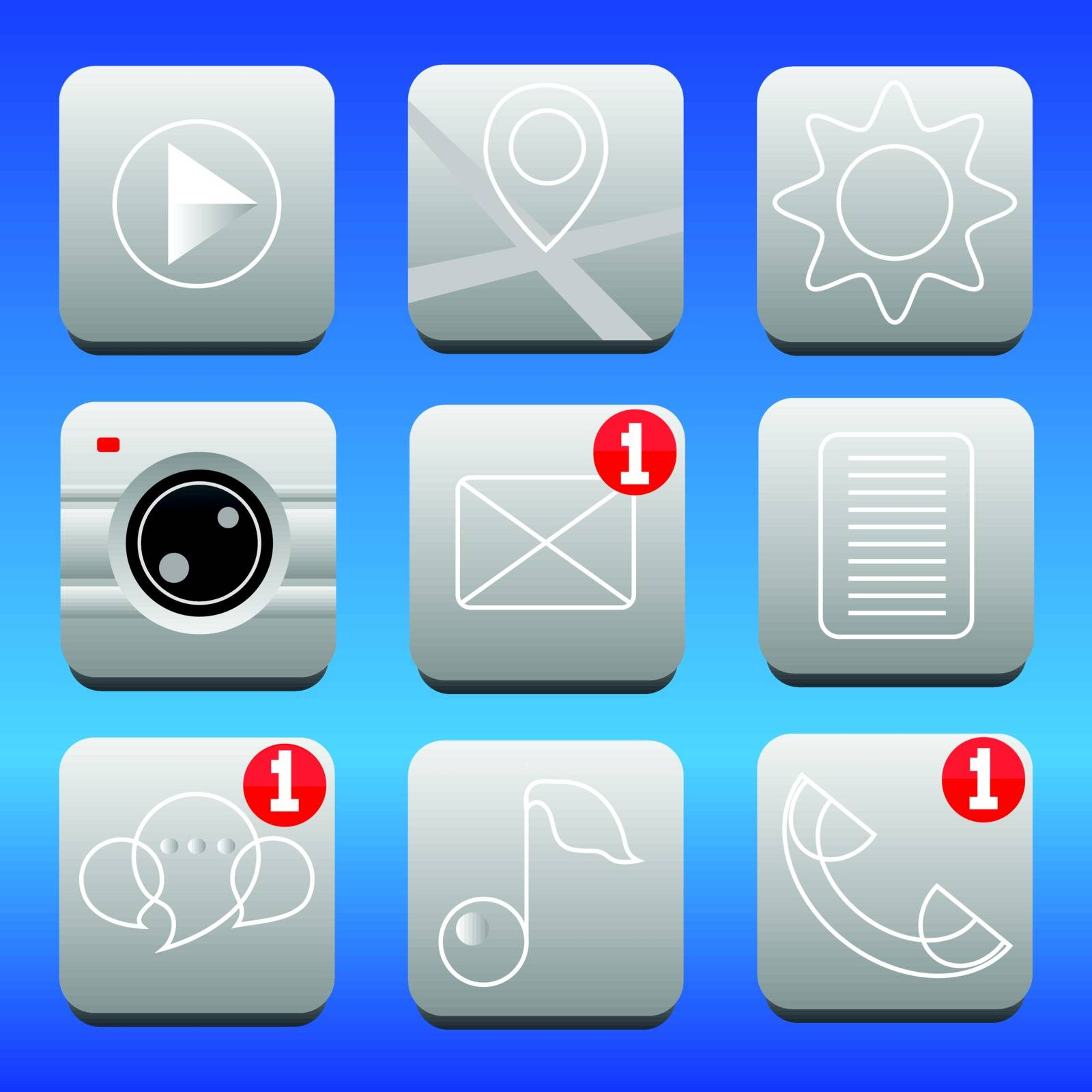 set of icons for smartphone