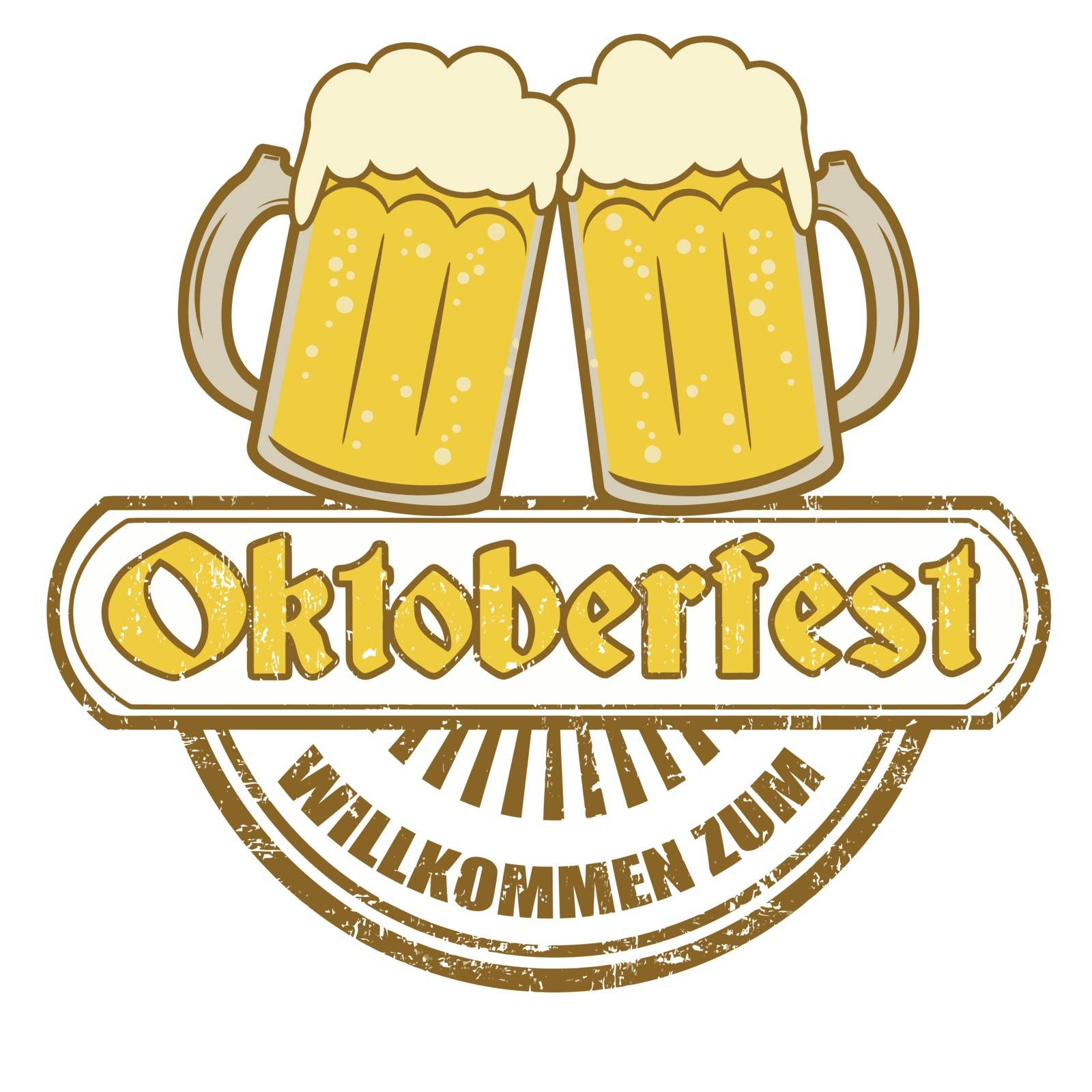 Grunge rubber stamp with beer mugs and the text Oktoberfest written inside, vector illustration