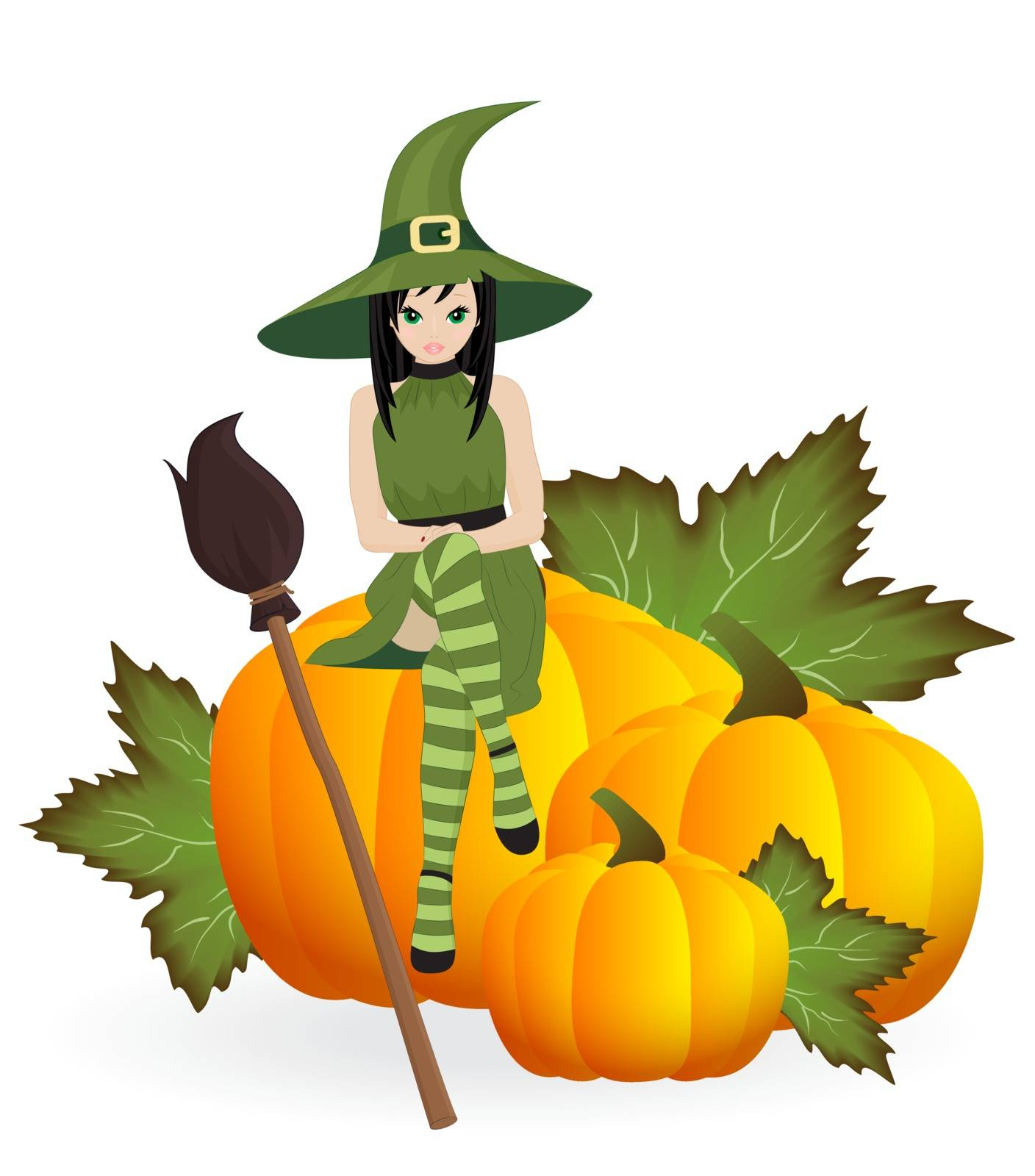 witch with a broom on the pumpkins isolated on white background