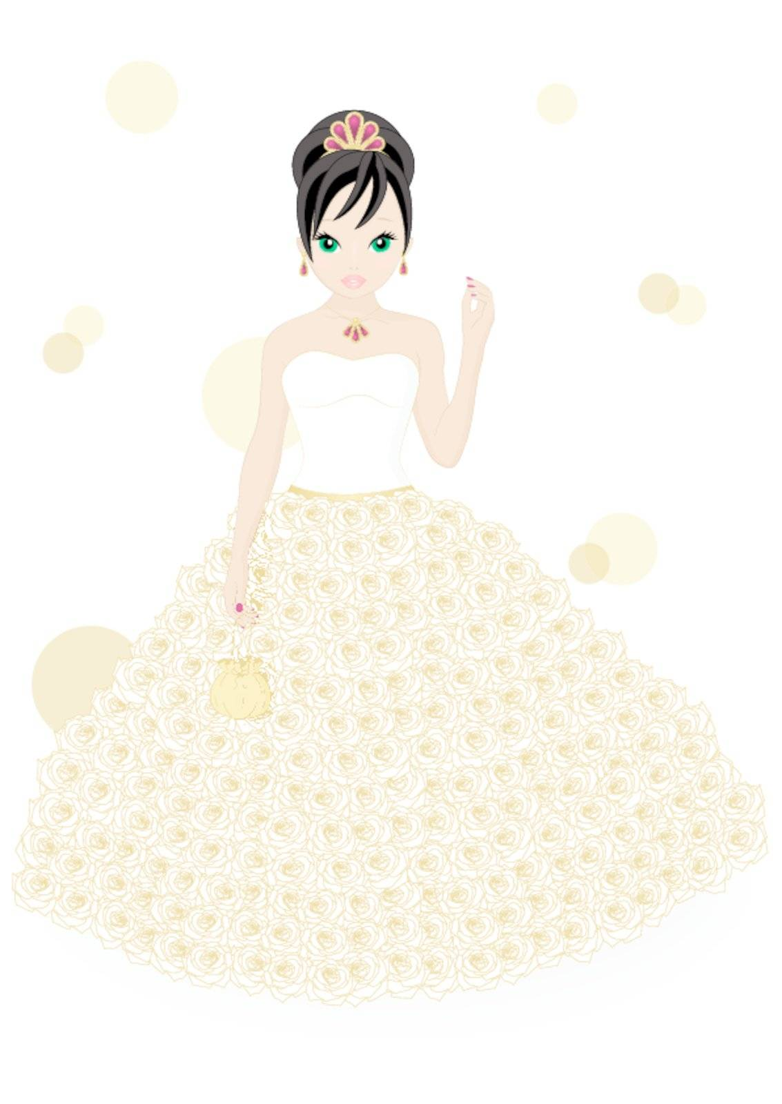 girl in a white dress isolated on white background