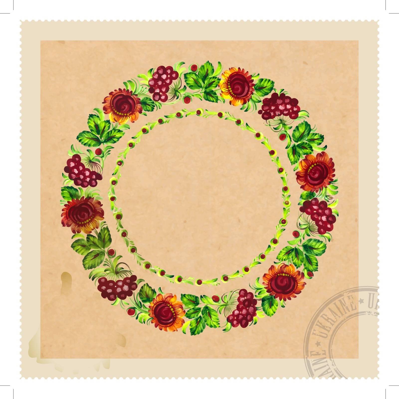vintage floral stamp in Ukrainian folk style