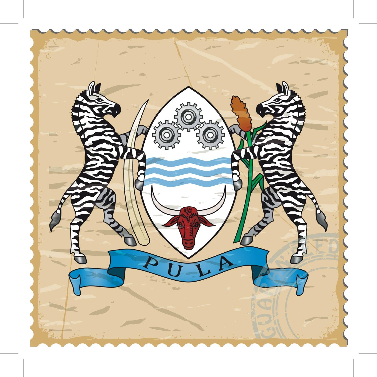 Coat of arms of  Botswana on the old postage stamp