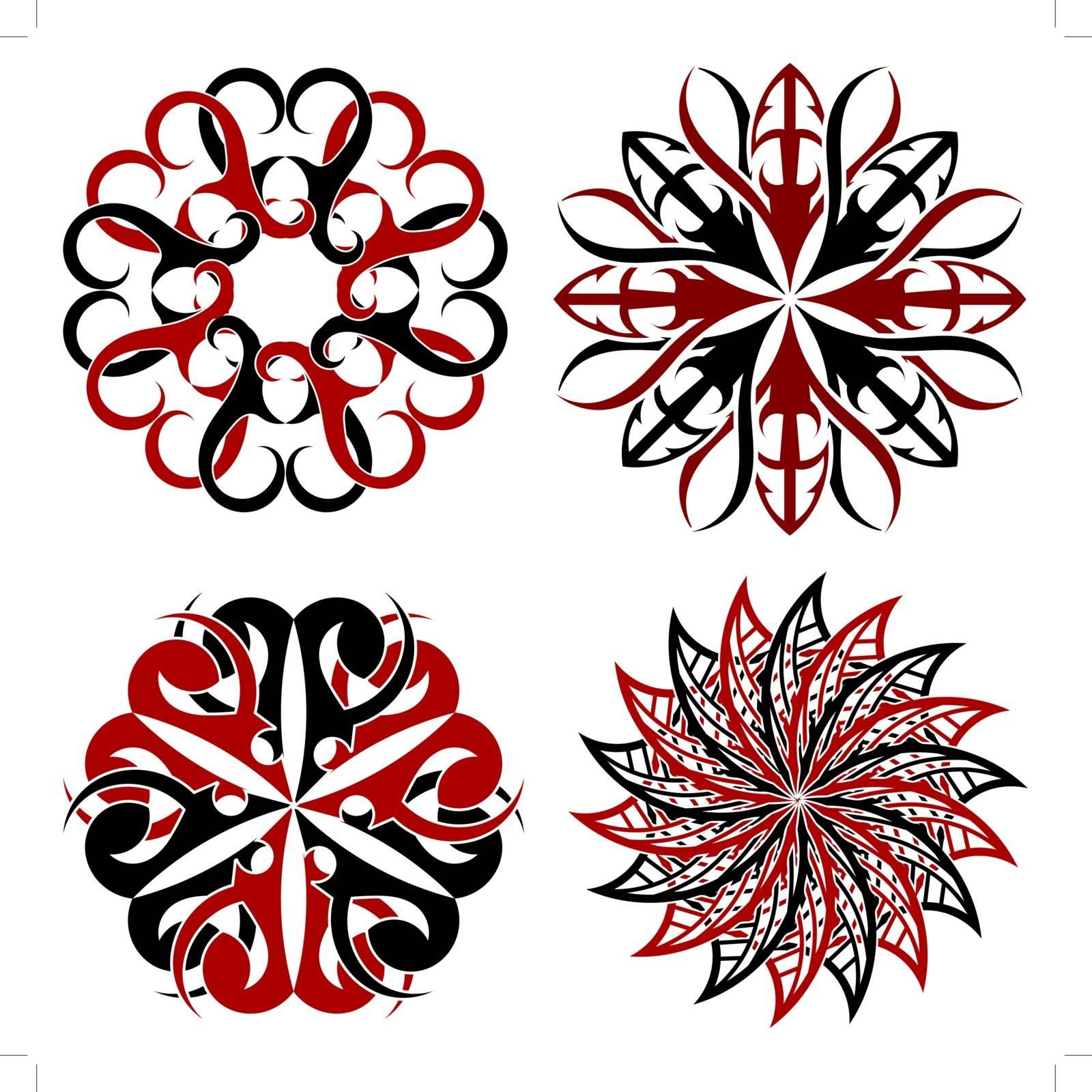 Set of round Tribal tattoo elements