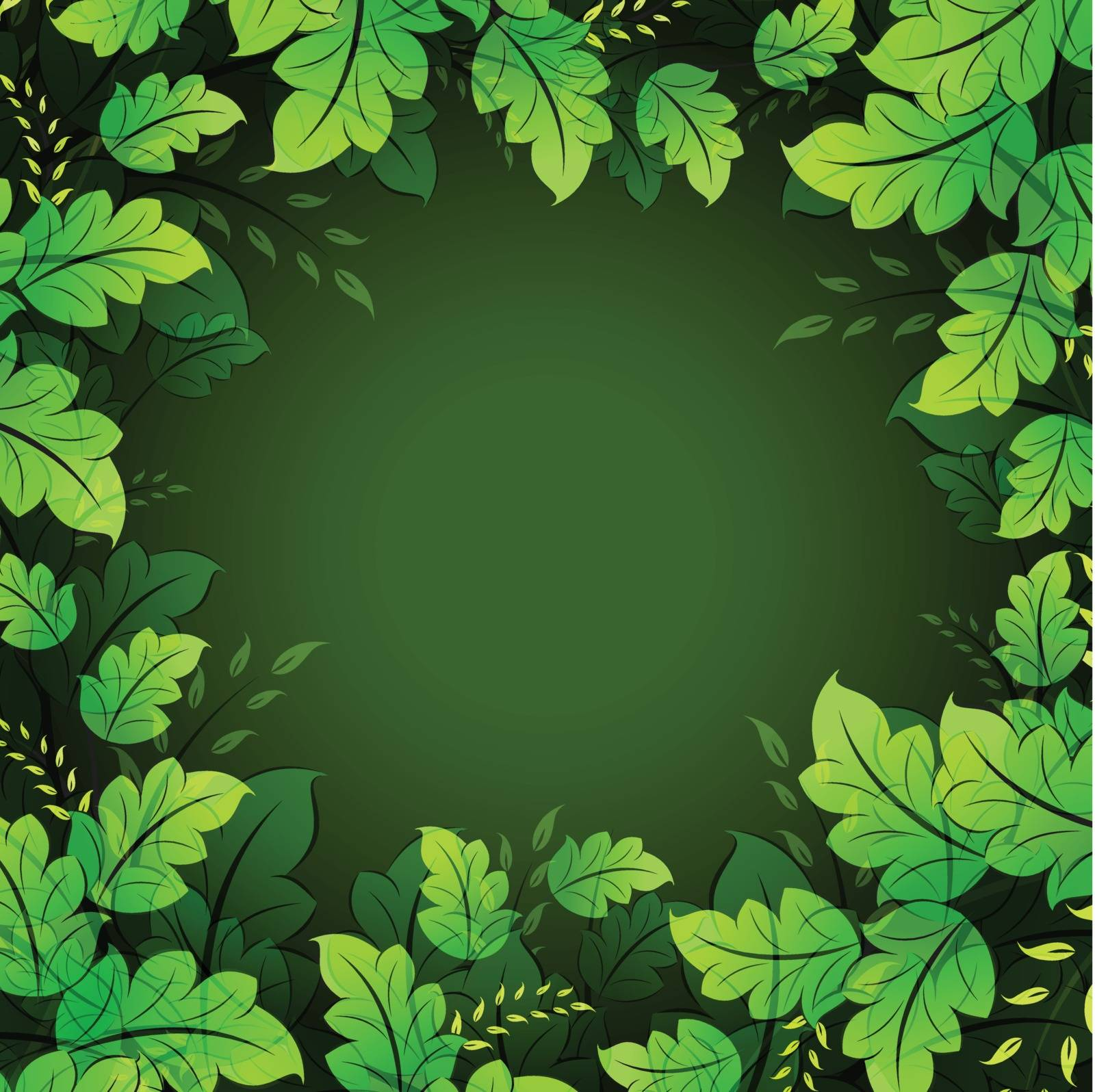Floral frame with leaves for your design