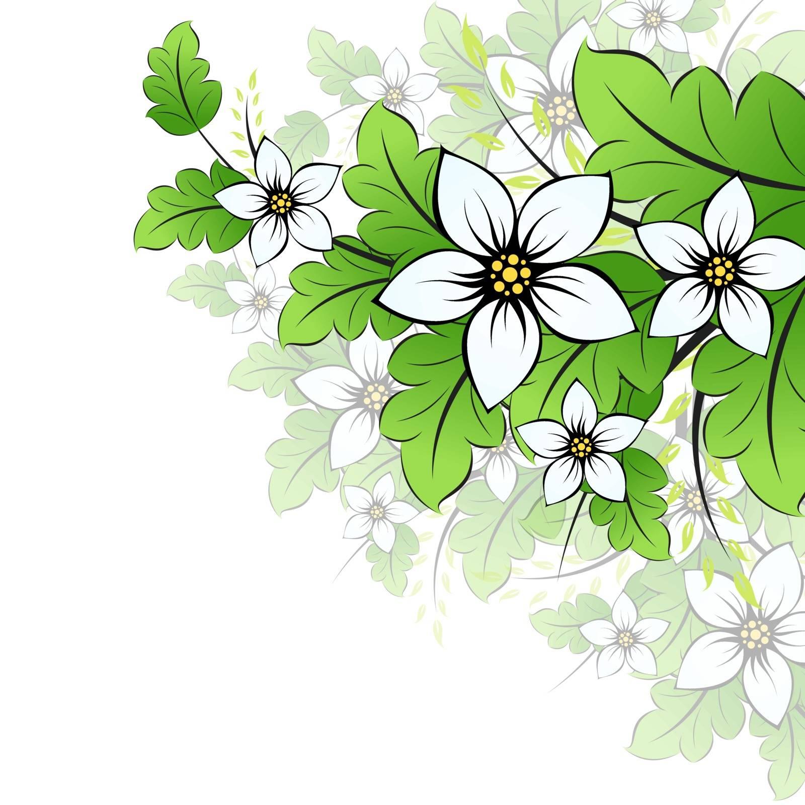 Isolated Florals. Leaves and Flowers
