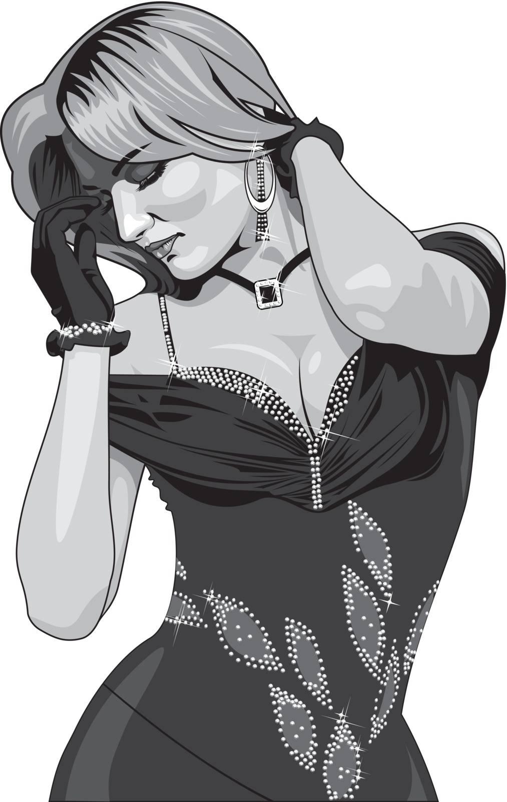 vector illustration beautiful girl in evening dress.