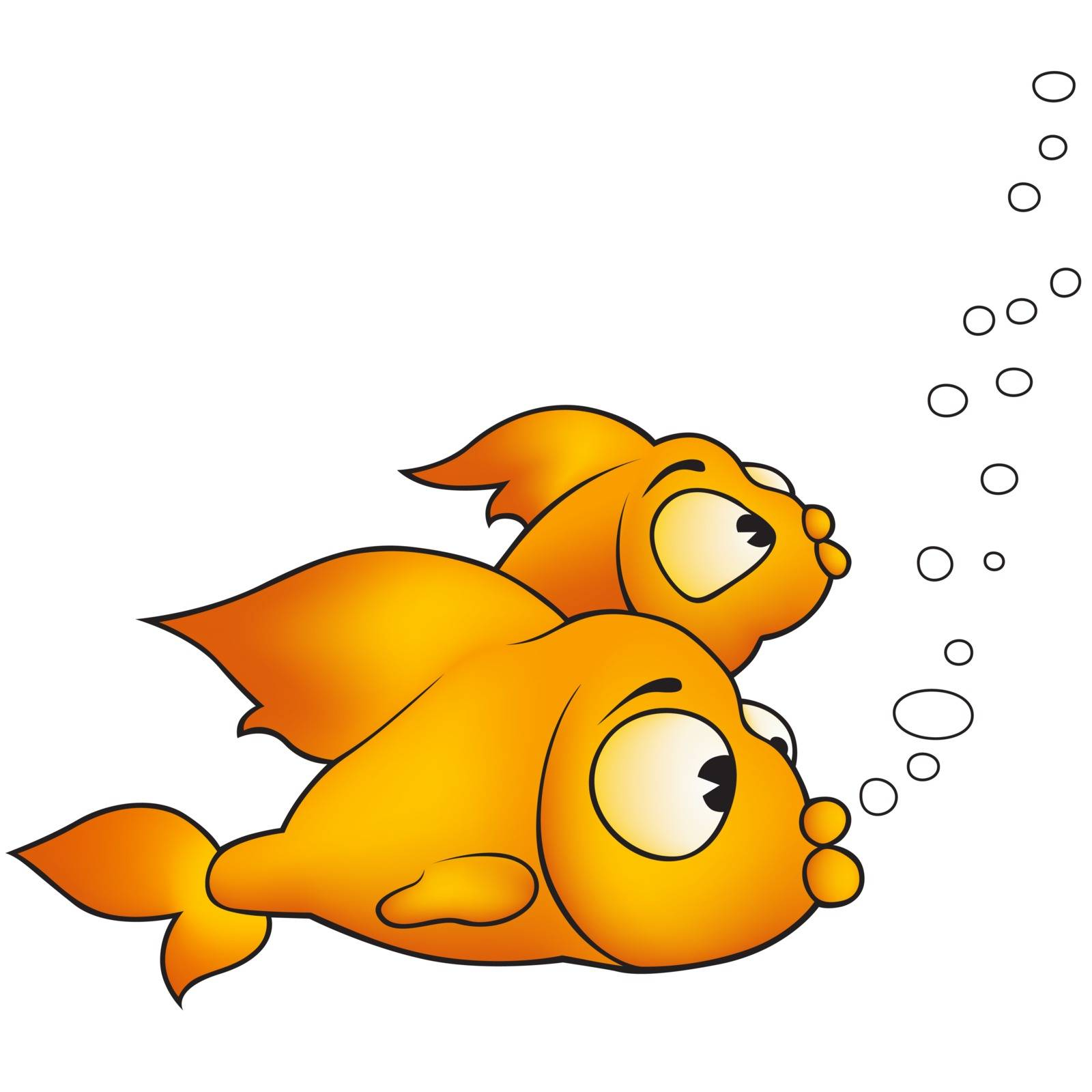 Two Golden Fish - Colored Cartoon Illustration, Vector