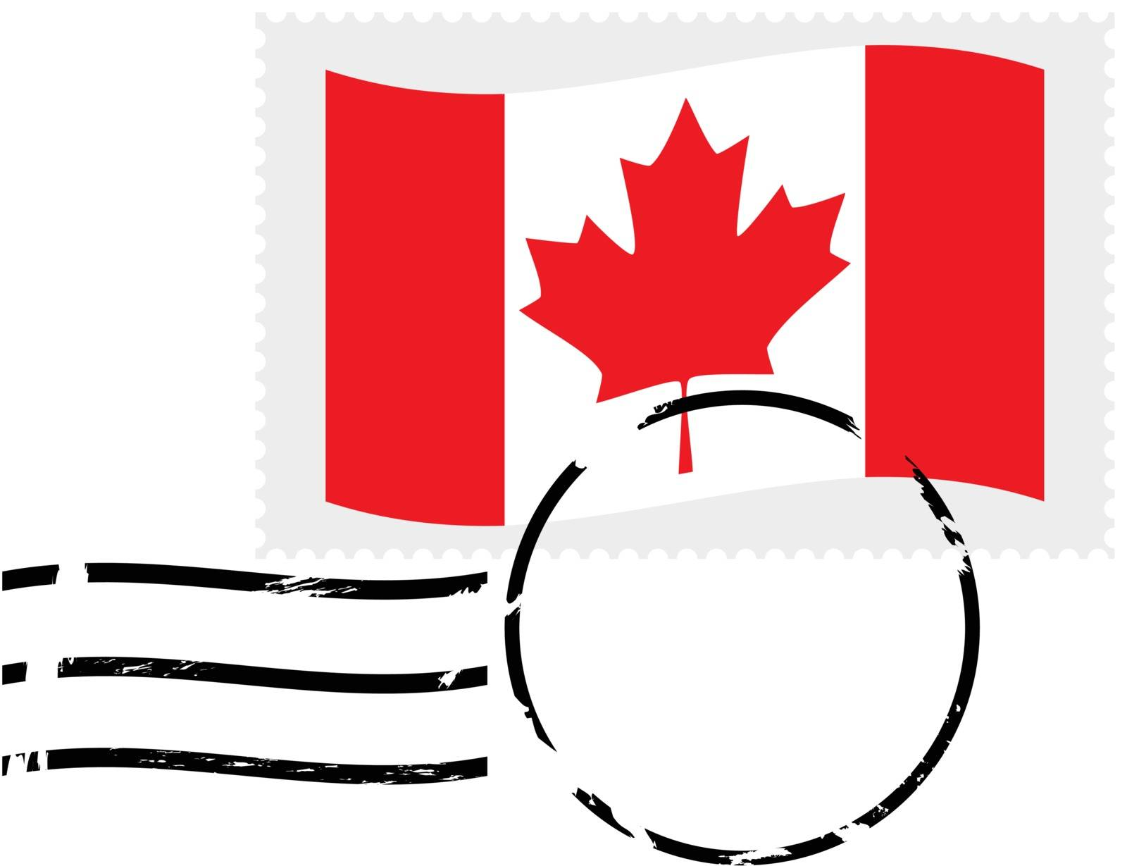 Illustration showing a postmarked stamp of Canada
