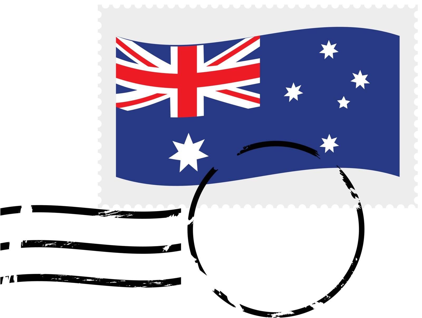 Illustration showing a postmarked stamp of Australia