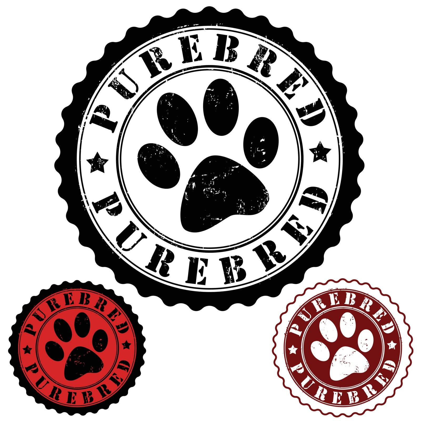 Grunge rubber stamp, with word purebred and animal footprint inside, vector illustration