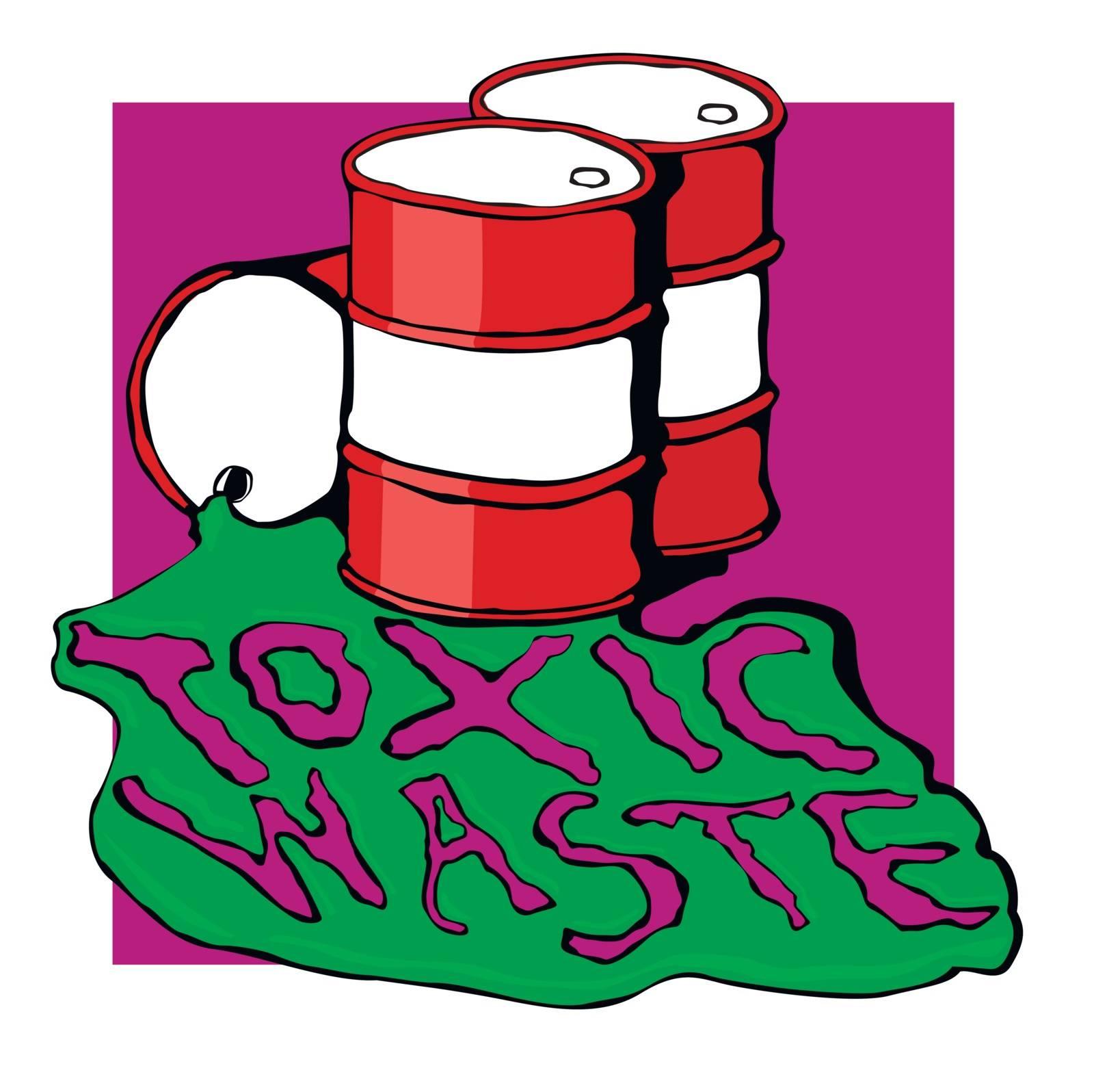barrels of toxic waste. vector illustration