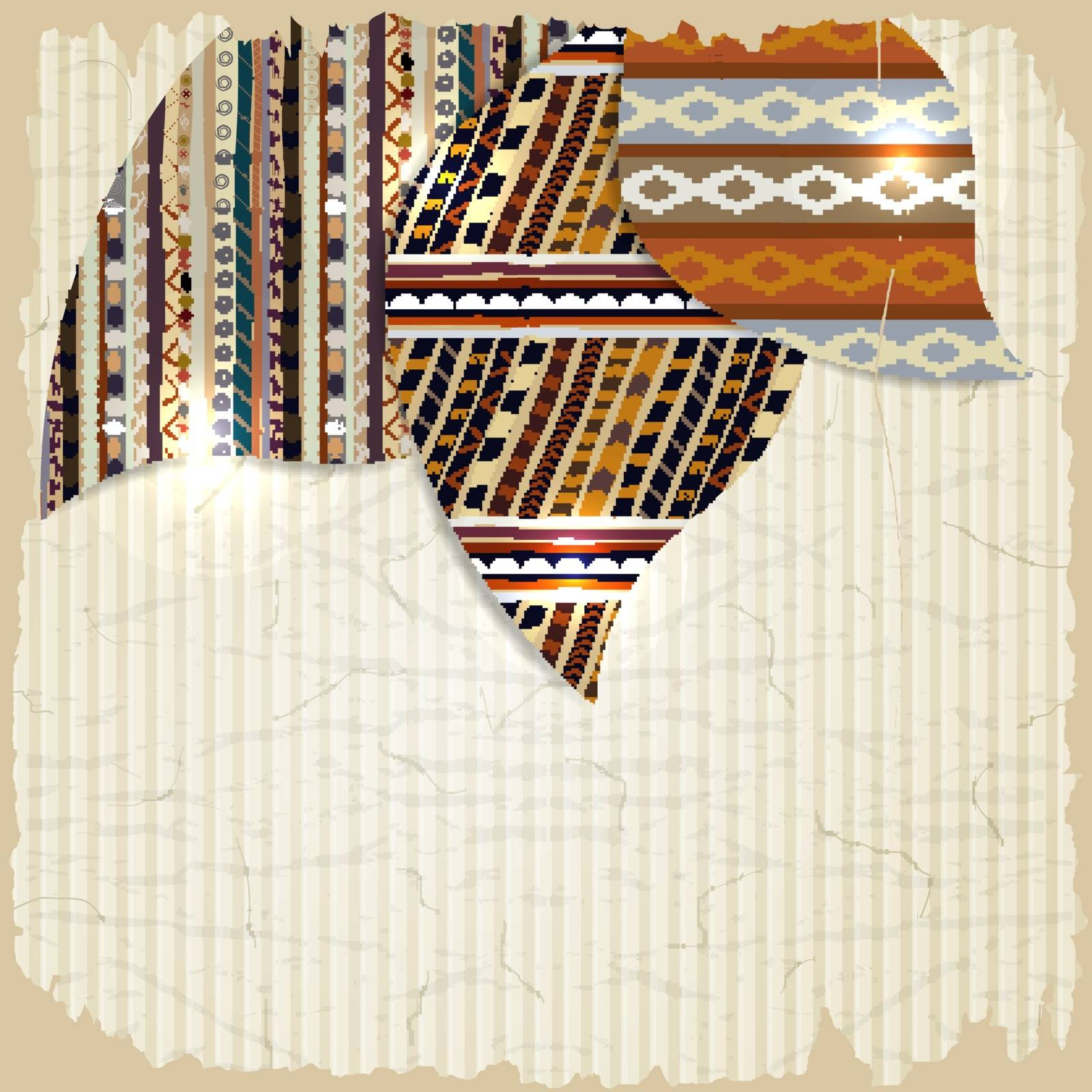 Vintage background with African paintings and grunge