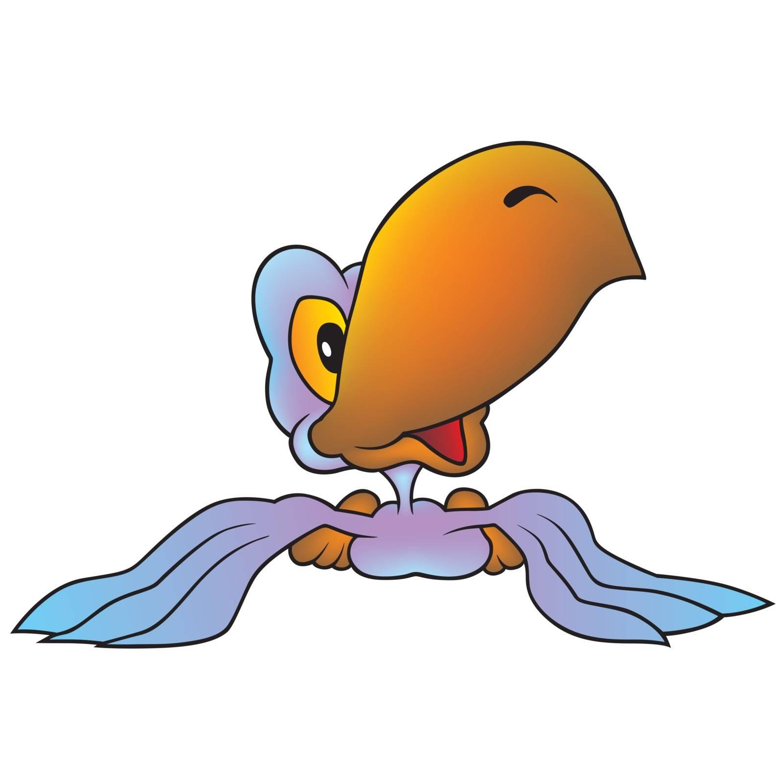 Violet Parrot - Colored Cartoon Illustration, Vector