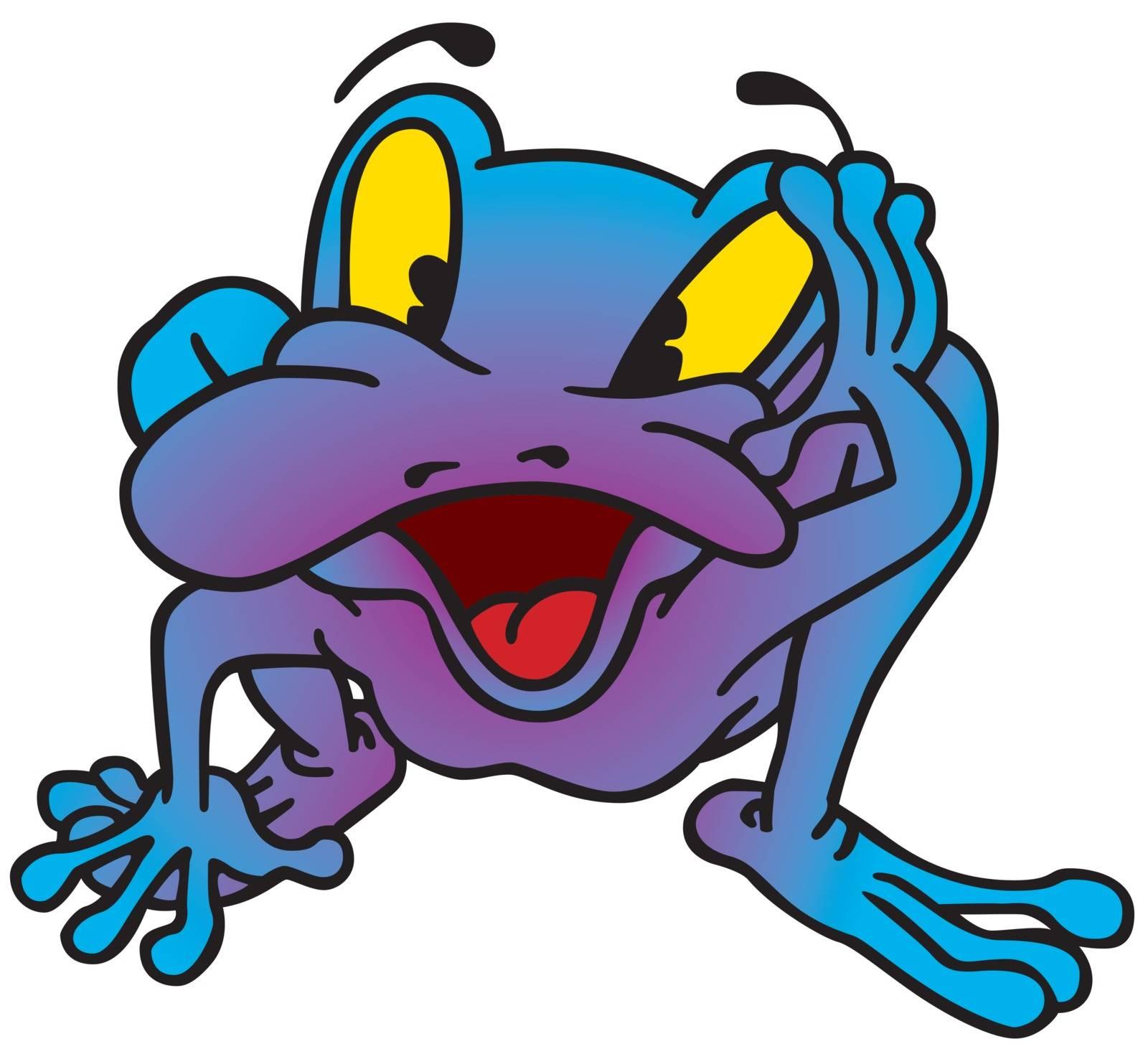 Violet Frog - Colored Cartoon Illustration, Vector