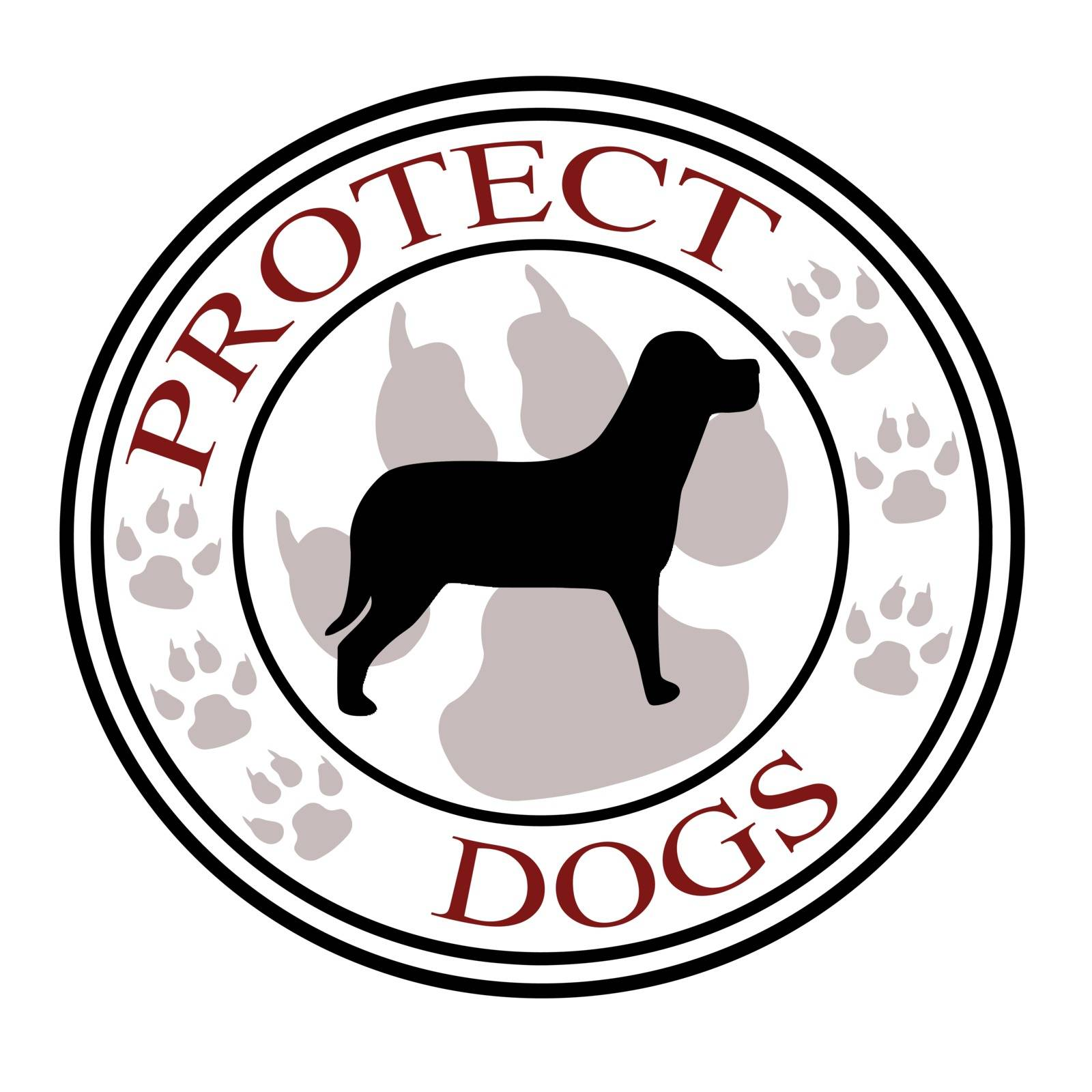 Stamp with text protect dogs inside, vector illustration