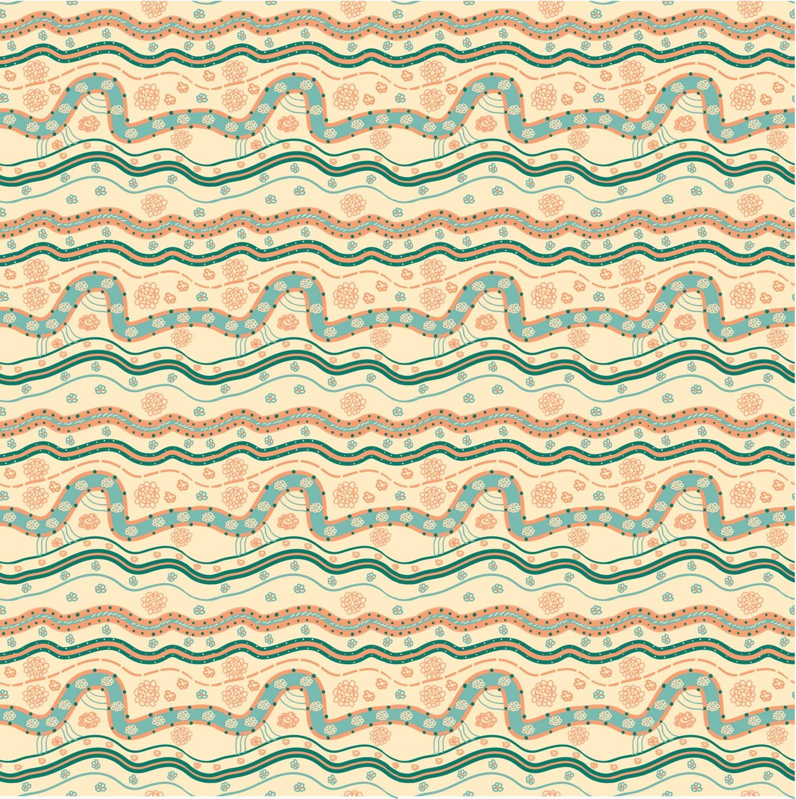 Hand-drawn seamless pattern, abstract lines and flowers