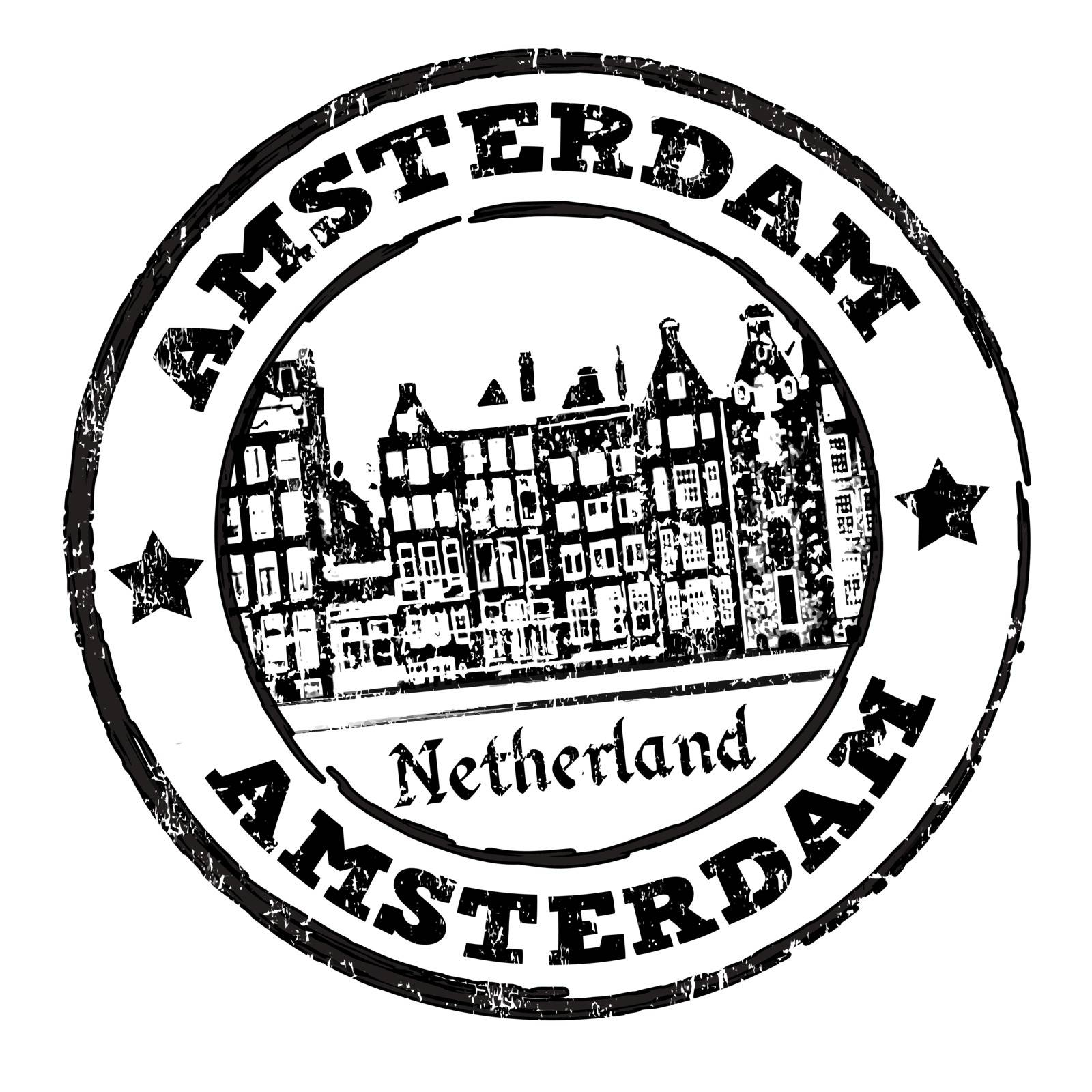 Black grunge rubber stamp with old houses and the word Amsterdam written inside, vector illustration