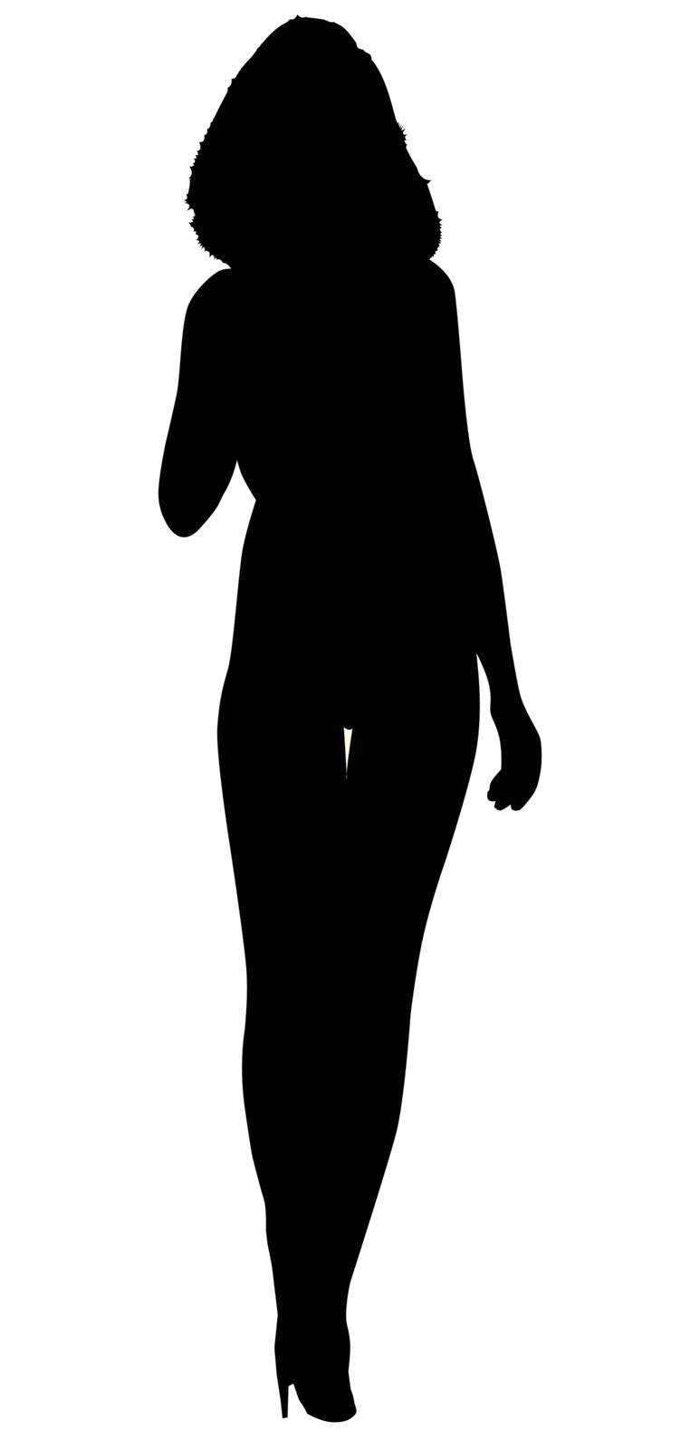 Silhouette of a girl wearing stiletto heels