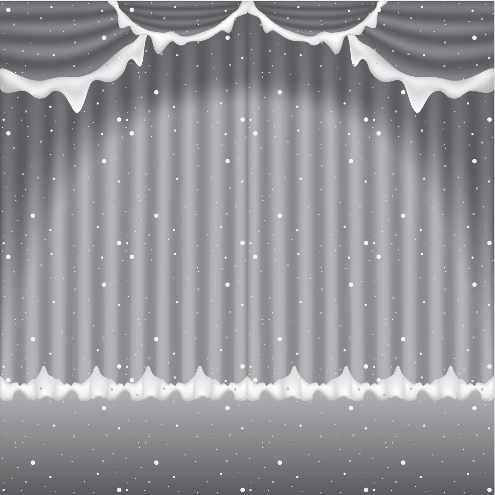 Frozen Winter Curtain - Colored Background Illustration, Vector