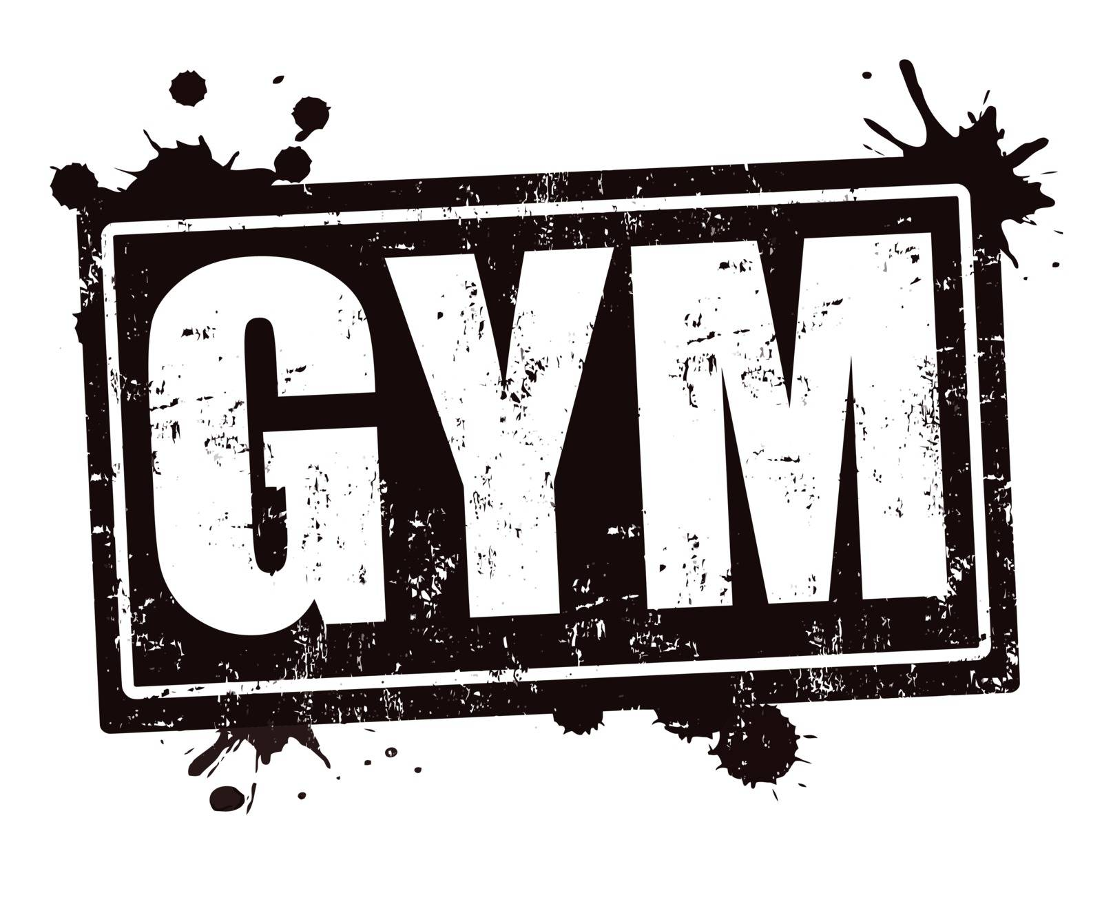 GYM grunge rubber stamp on white , vector illustration