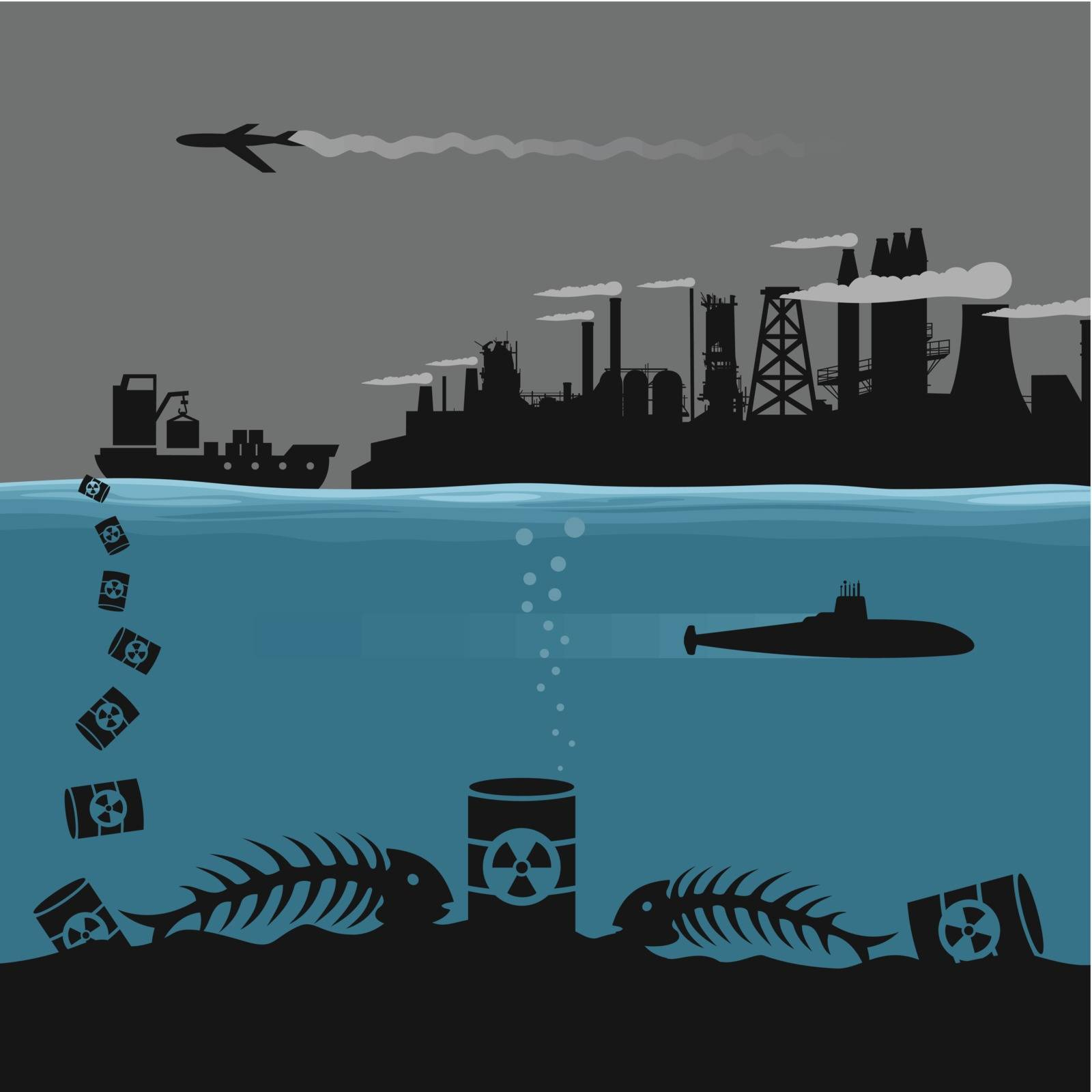 The industry pollutes ecology. A vector illustration