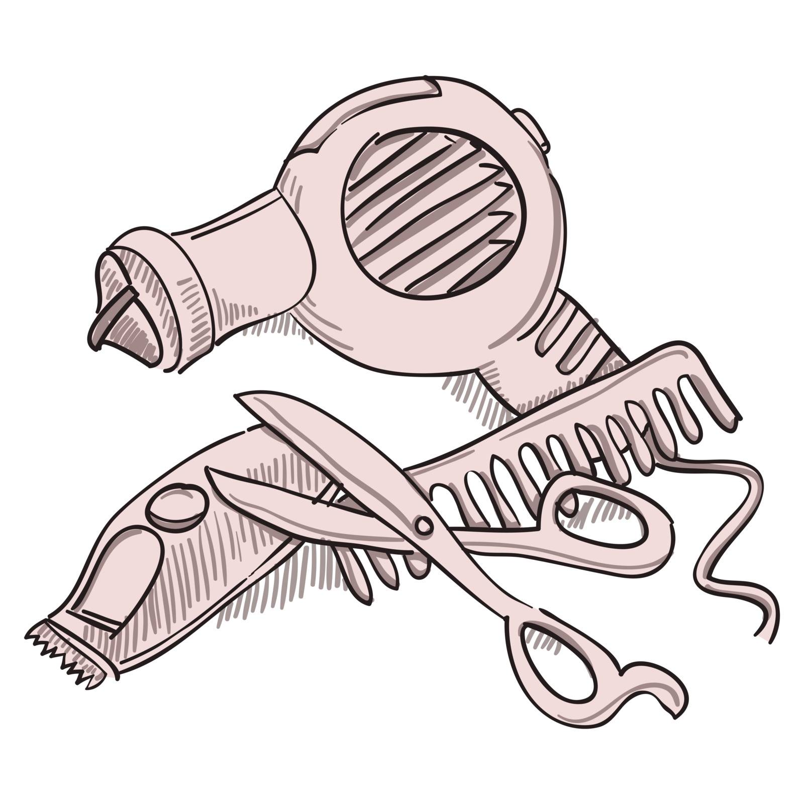 Isolated hairdresser tools such as scissors and dryer