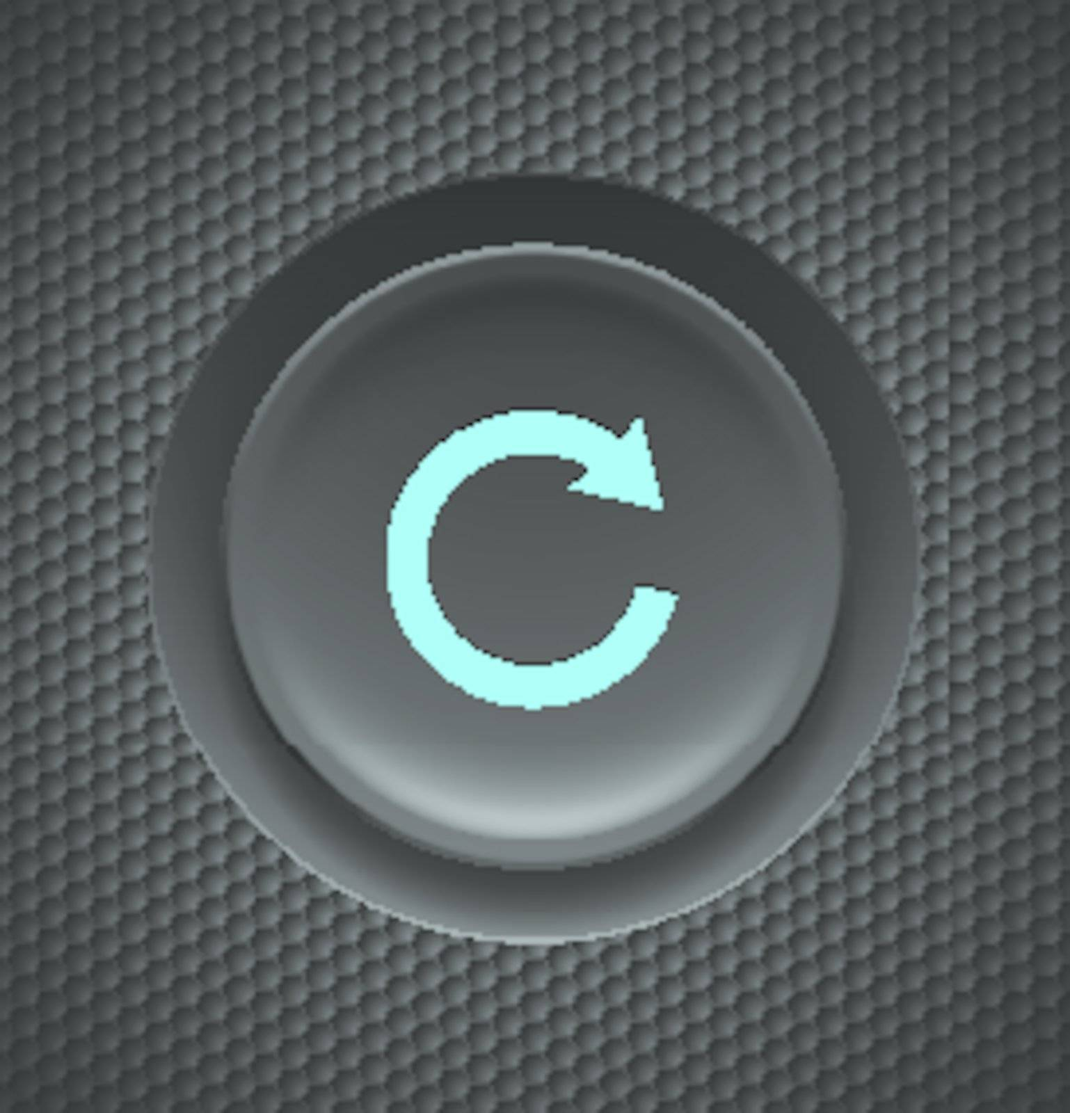 Black button with blue repeat sign on carbon background.