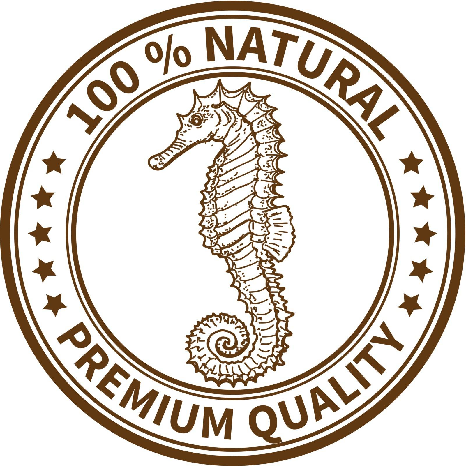 Stamp with the seahorse and the text 100% natural, premium quality